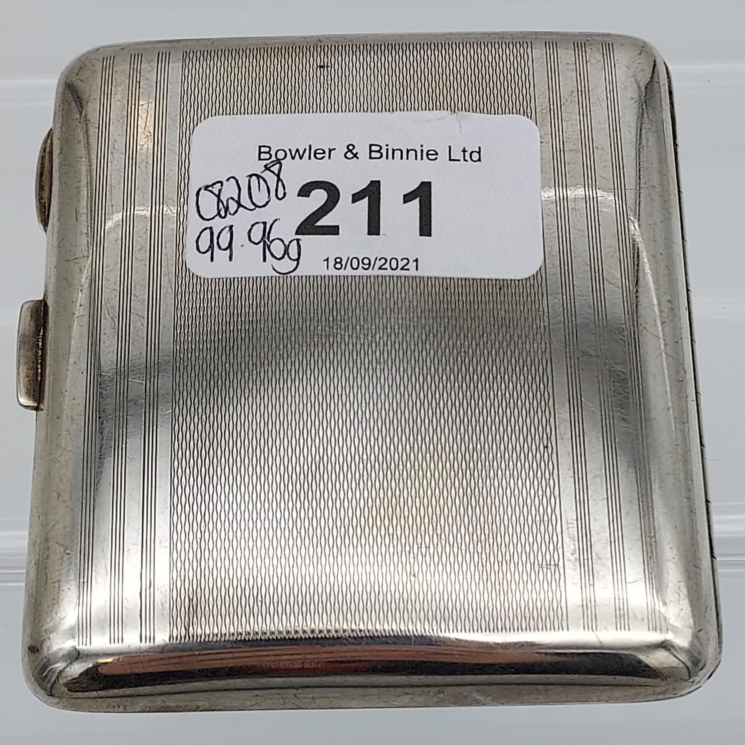 A Birmingham silver Art Deco design cigarette case [99.96grams] - Image 4 of 5