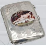 An antique silver case with nude enamel plaque [54.79g]