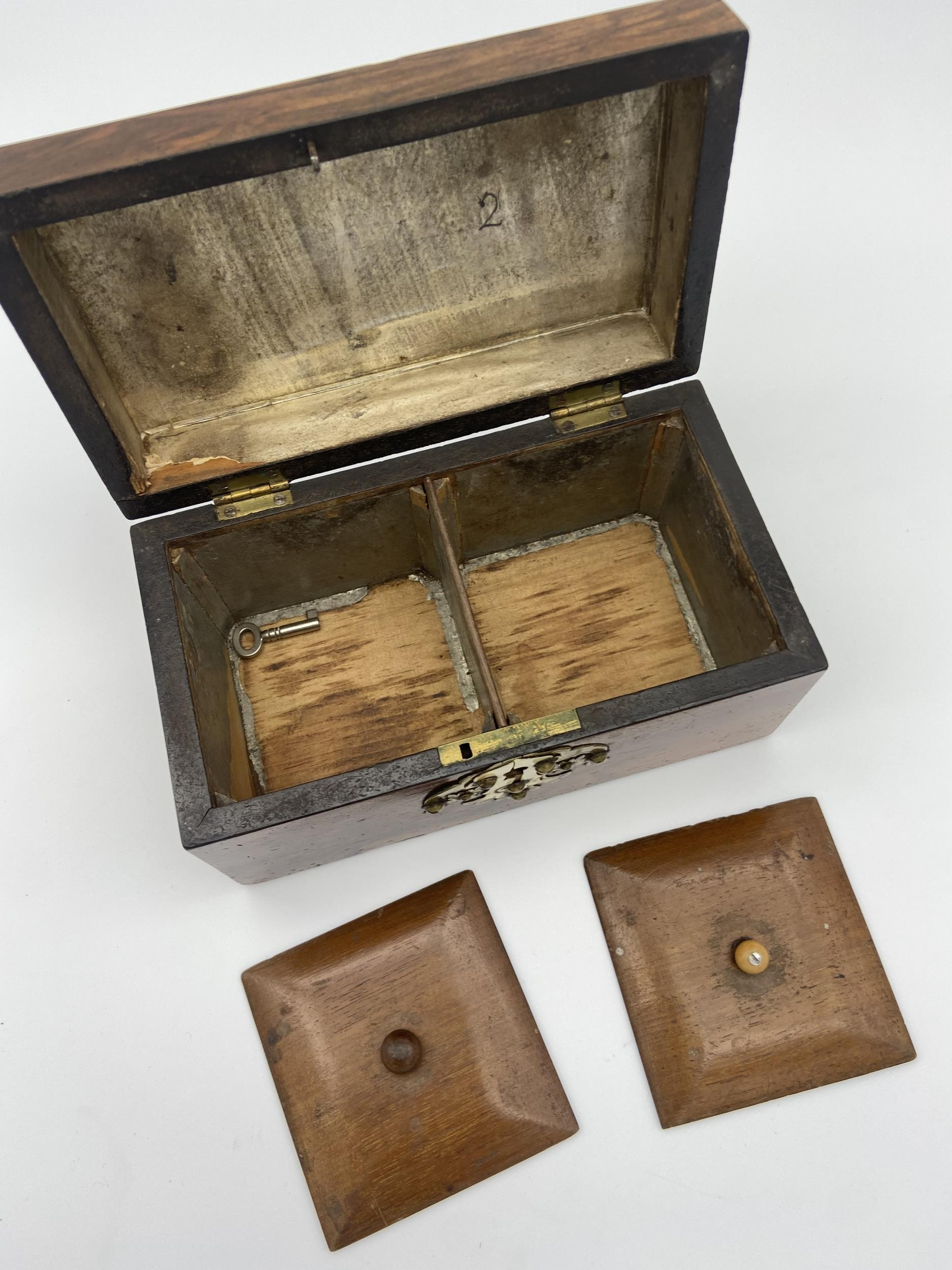 A 19th century two section tea caddy box fitted with brass mounts - Image 5 of 5