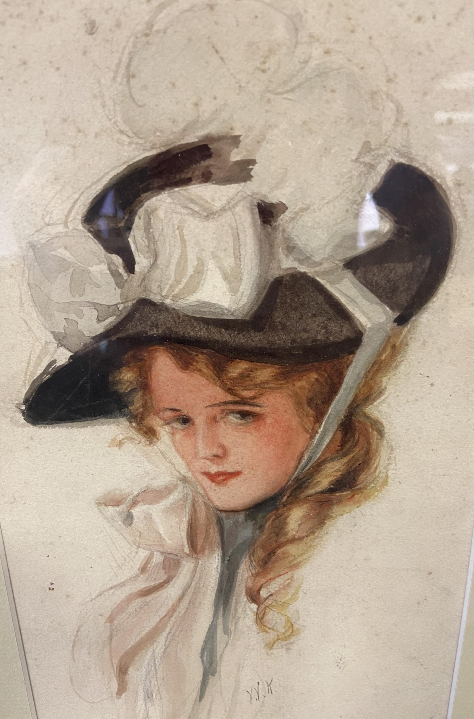 An original watercolour depicting a lady portrait, c1920's and signed W.K. - Image 2 of 2