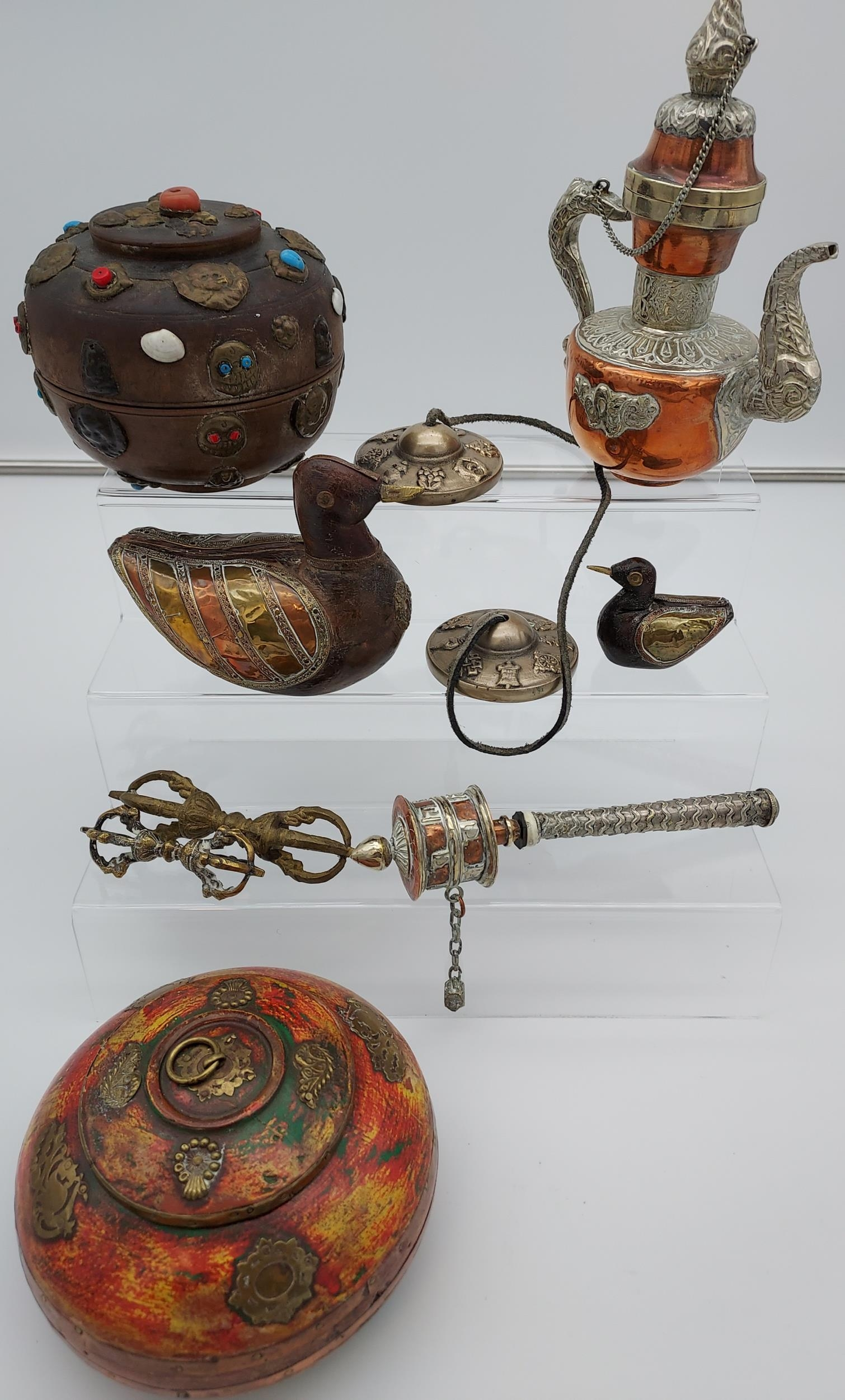 A collection of Tibetan antiques to include silver and copper teapot, prayer wheel, meditation chime - Image 2 of 6