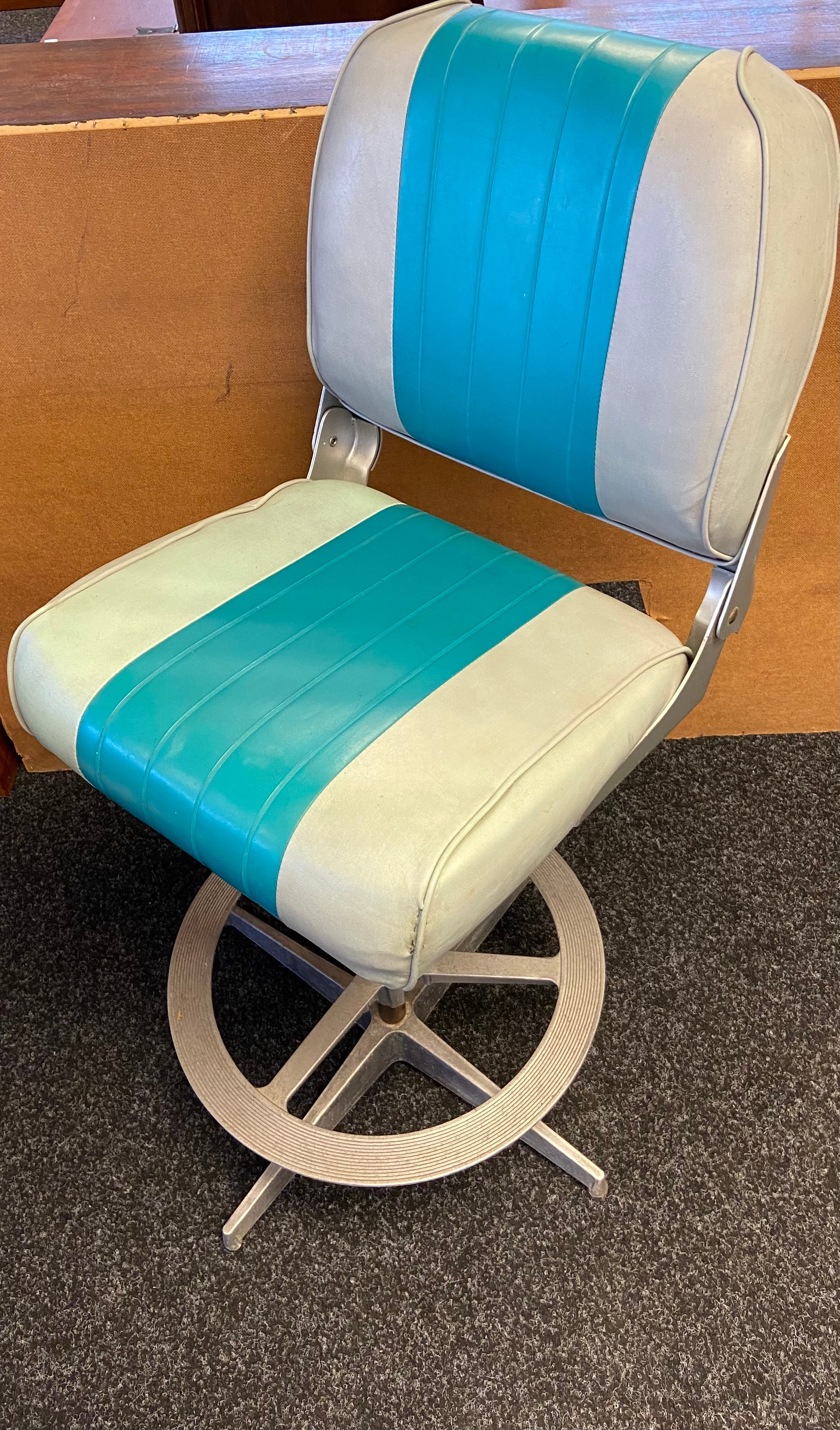 A 50's Upcycled, Heavy duty vinyl speed boat chair. Finished with an industrial base. [100cm in