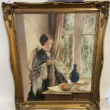 John Mackin [Glasgow. C.I.] Original oil painting on board titled 'The Blue Vase' Fitted within a