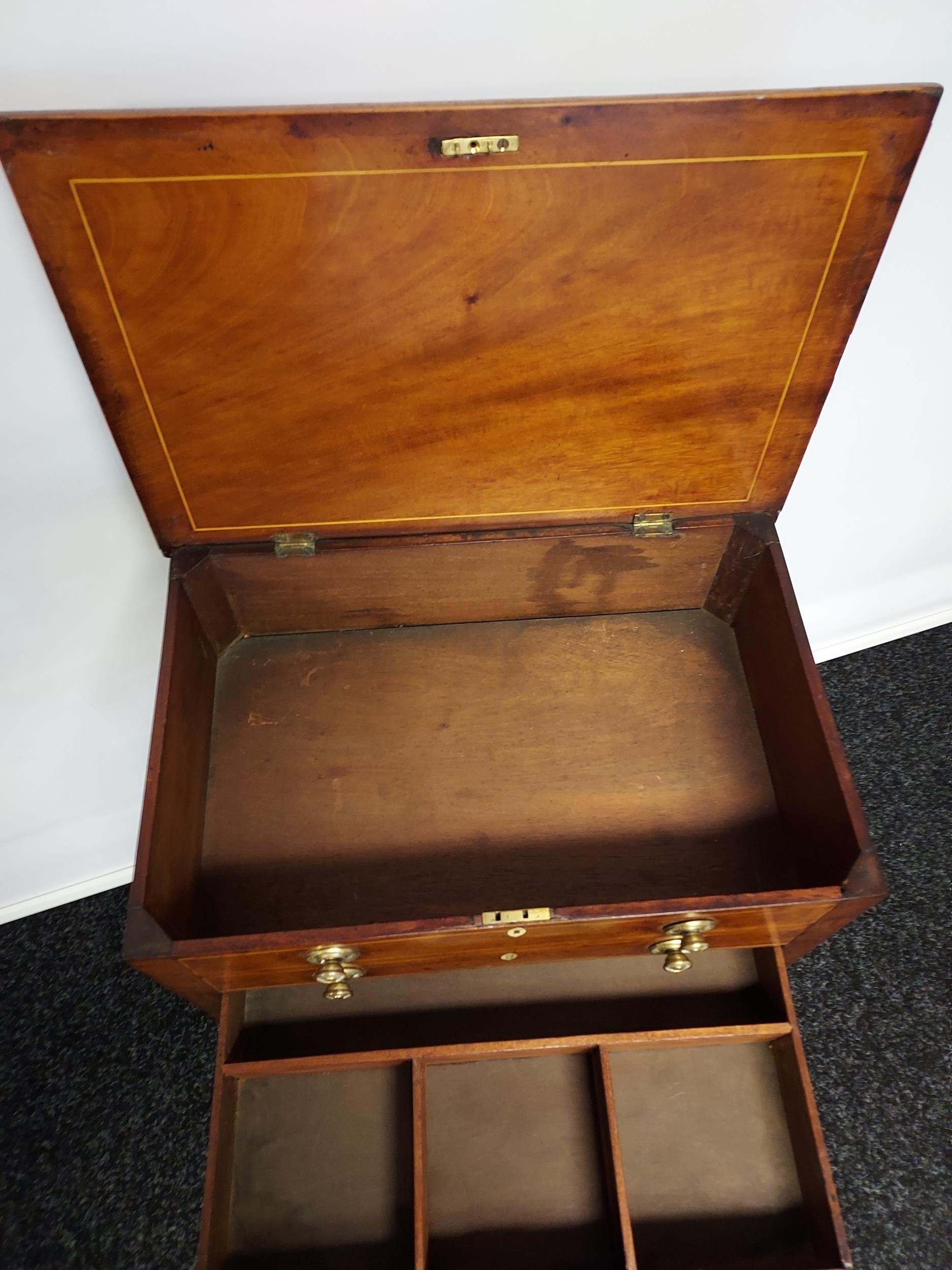Georgian mahogany lift top console table, one centre drawer under two false drawers, raised on - Image 4 of 7