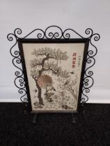 An 19th century Chinese/ Japanese silk tapestry depicting various bird flying and perched. Signed by