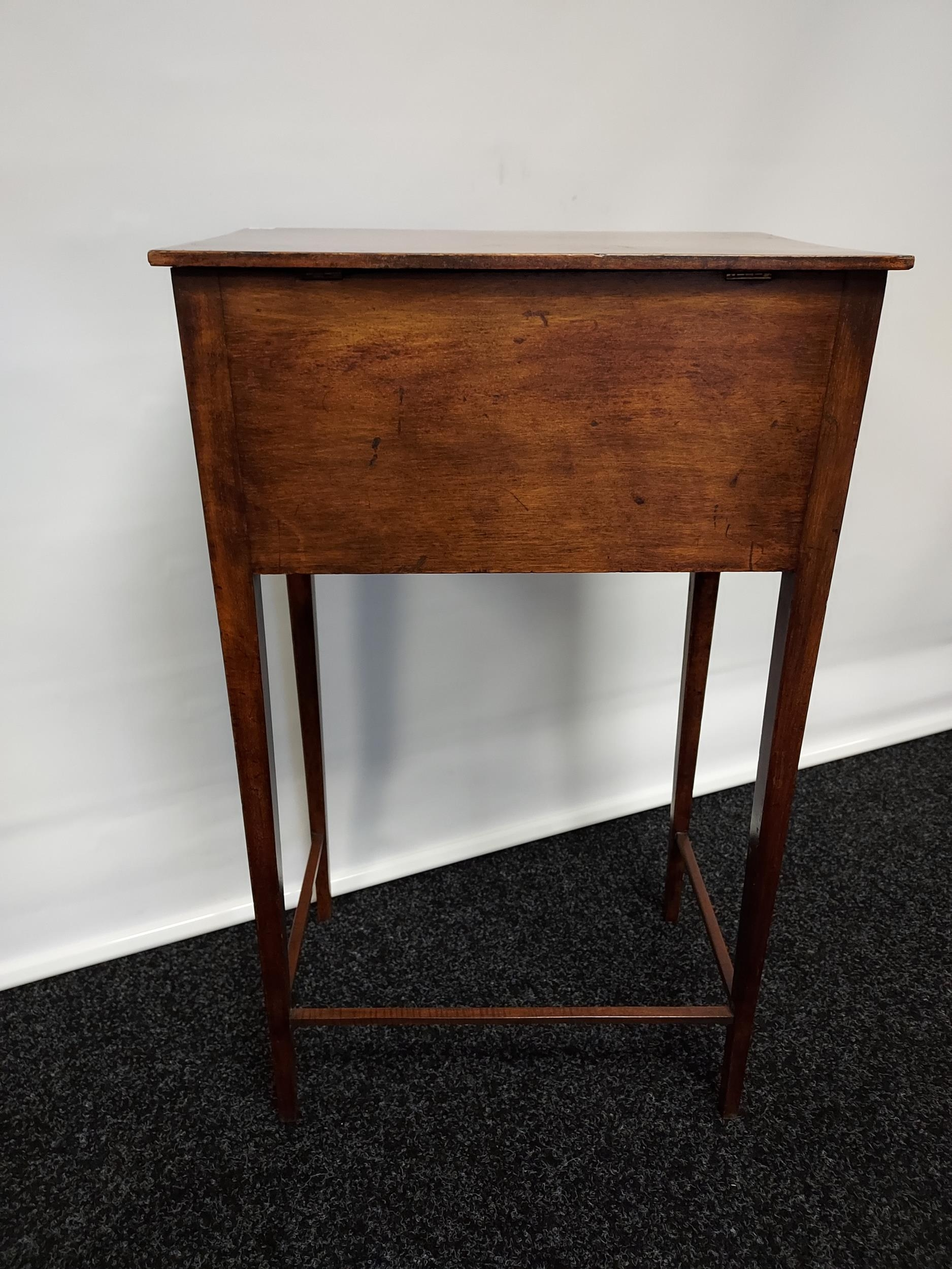 Georgian mahogany lift top console table, one centre drawer under two false drawers, raised on - Image 7 of 7