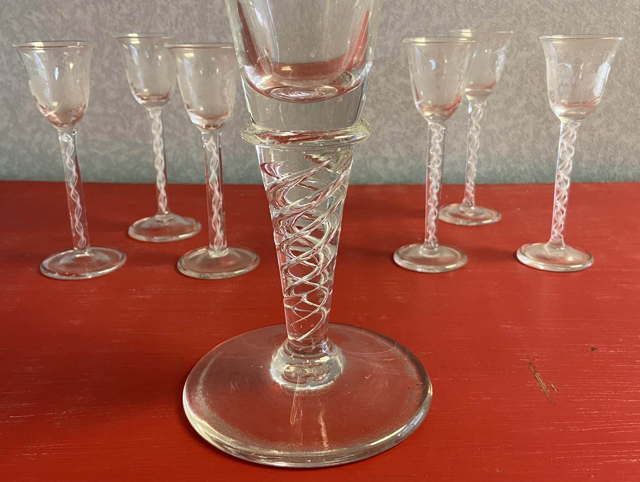 A Set of 6 twist stem free blown sherry glasses, etched with grape vines, Together with a large - Image 5 of 5