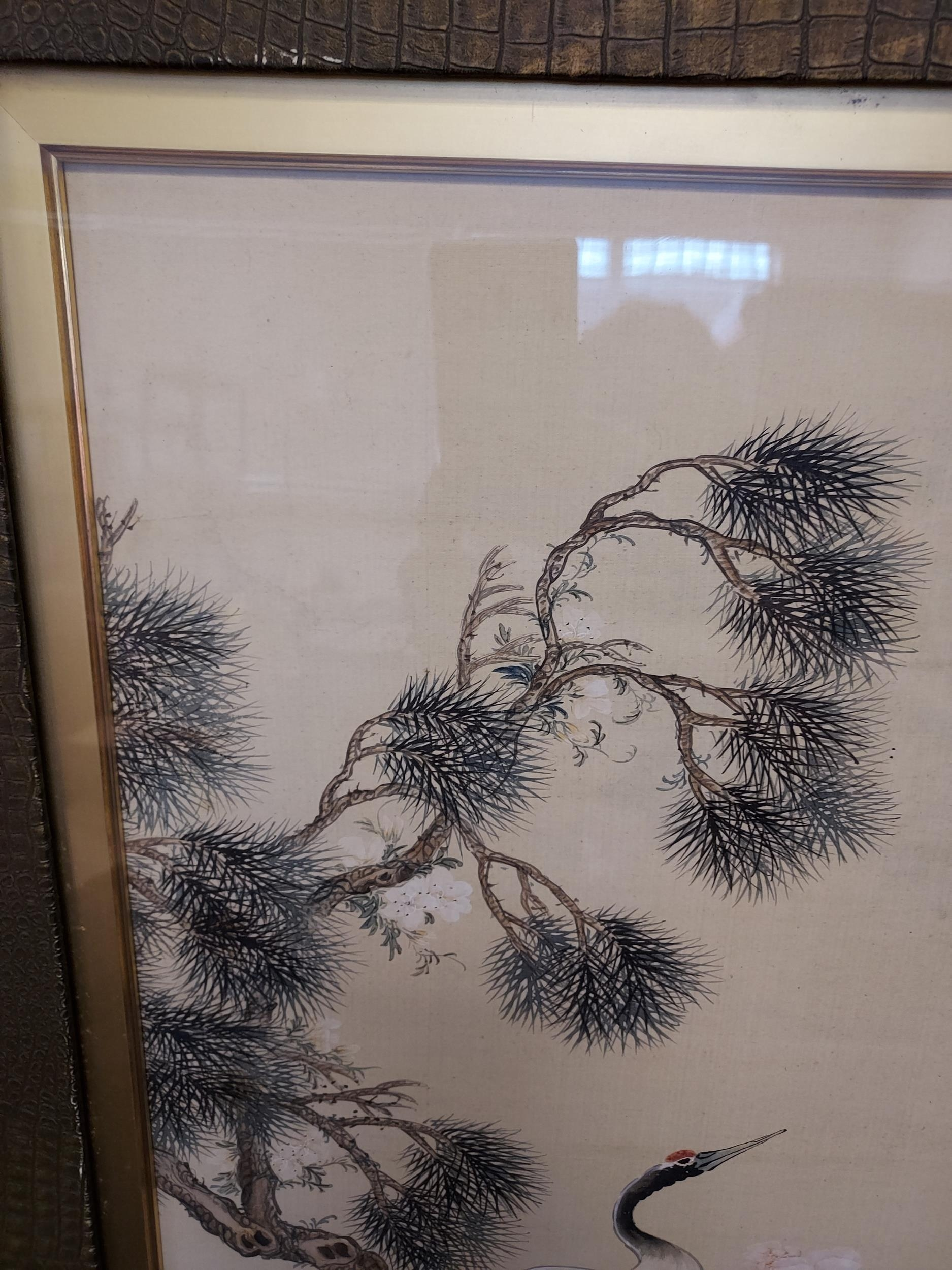 A Large 18th/ 19th century Chinese/ Japanese silk painting depicting cranes surrounded by tree and - Image 6 of 9