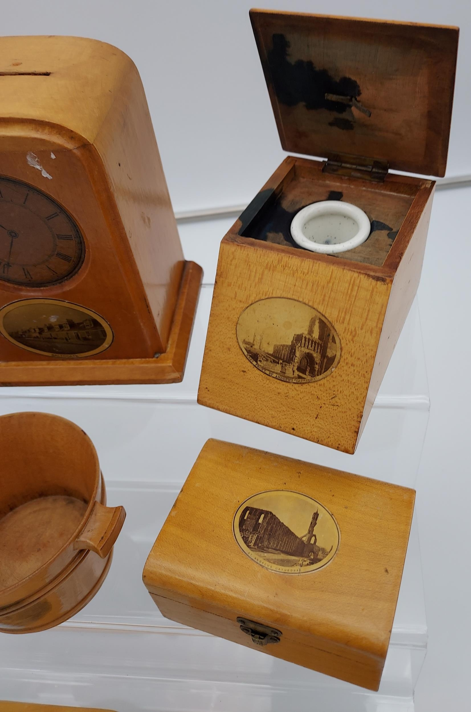 A Collection of 7 various Mauchline ware items to include page turner, Clock shaped bank, Ink - Image 3 of 3