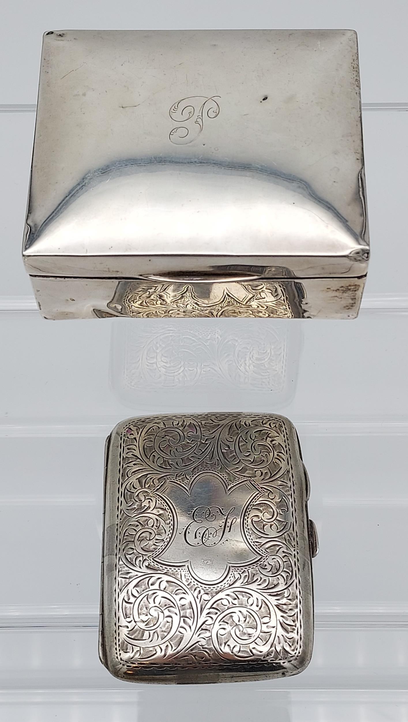 A Birmingham silver cigarette box together with a Birmingham silver cigarette case. - Image 2 of 9