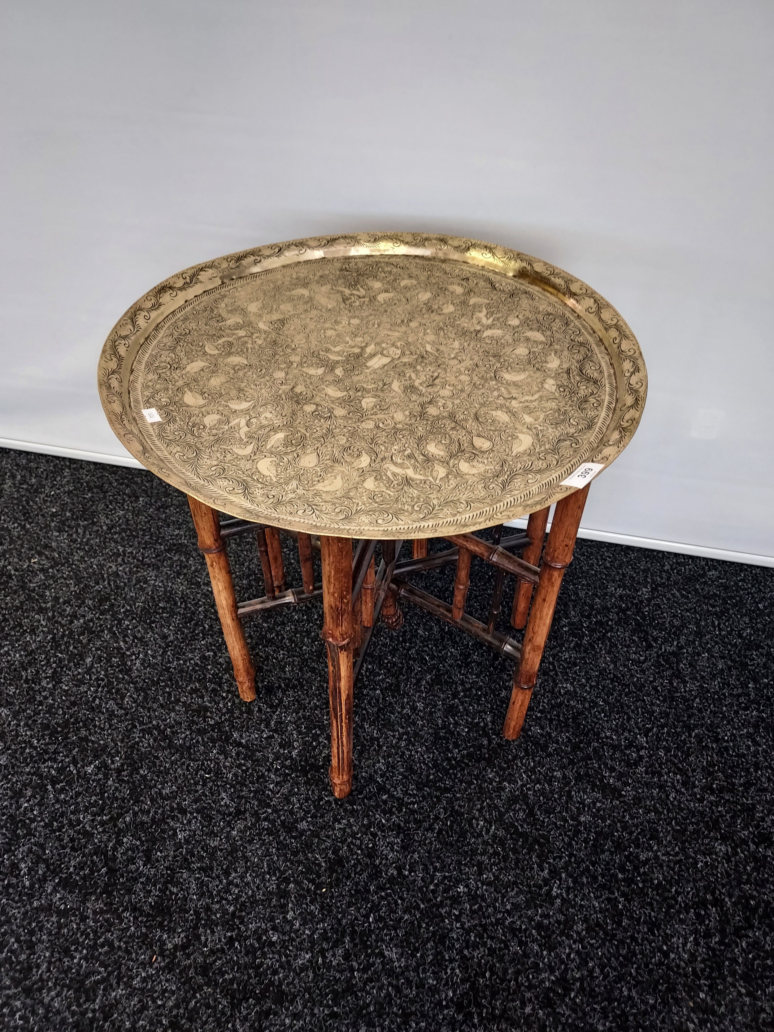 Antique Indian/ Benares decorative brass top wit folding bamboo table legs, Decoratively carved. - Image 3 of 4