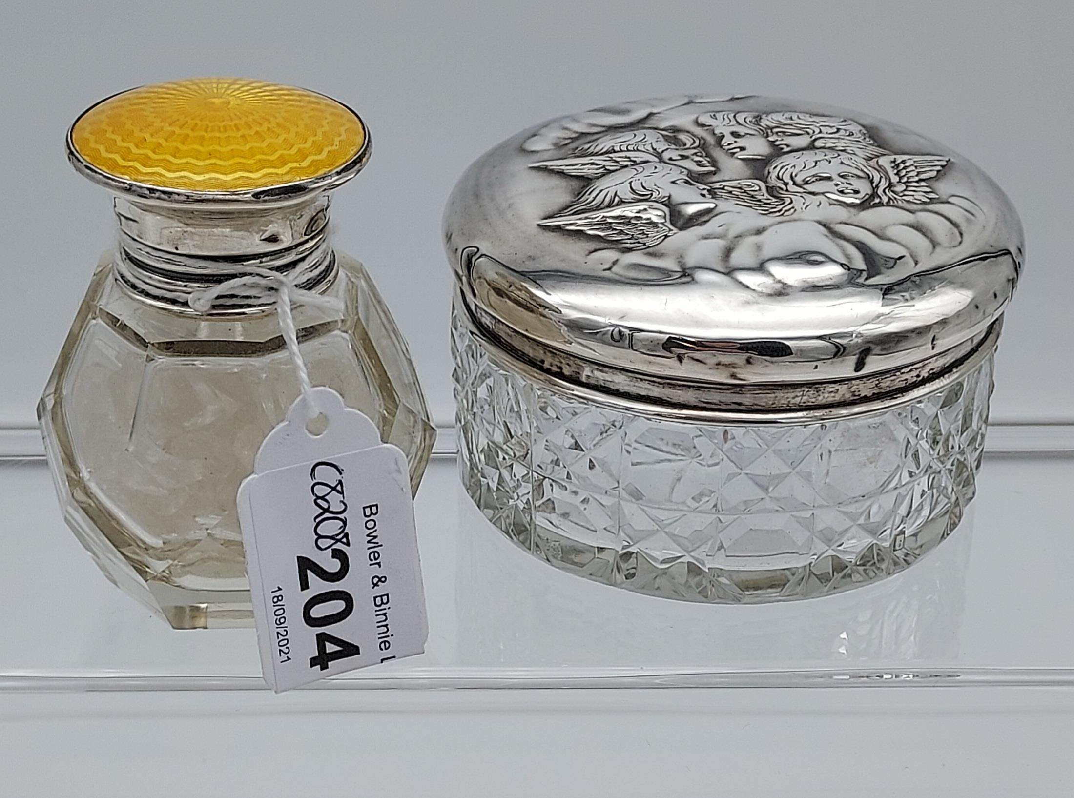 A Birmingham silver and yellow enamel topped dressing table preserve pot together with a