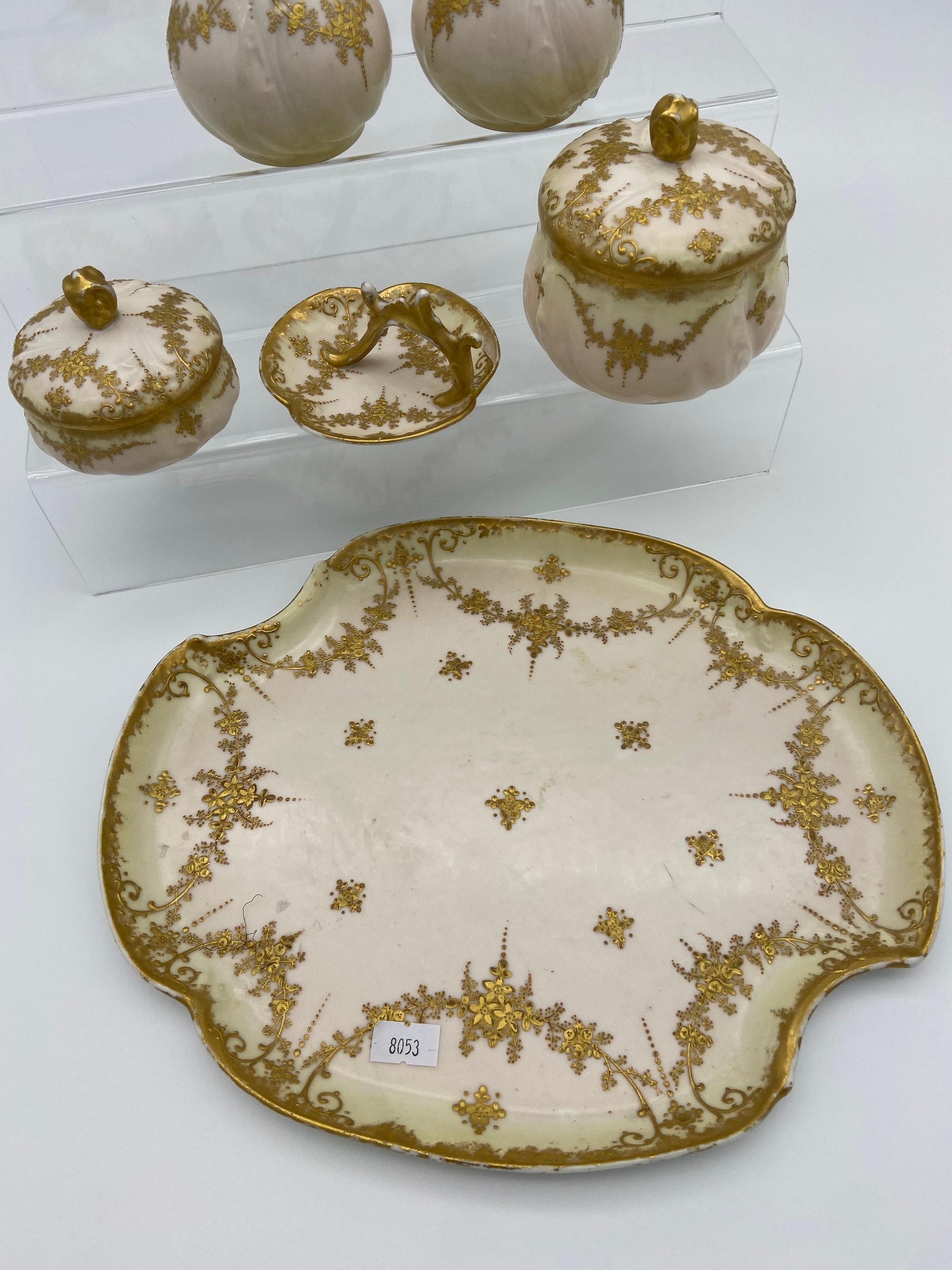 A Vintage French M Redon Limoges porcelain dressing table set. - Image 2 of 4