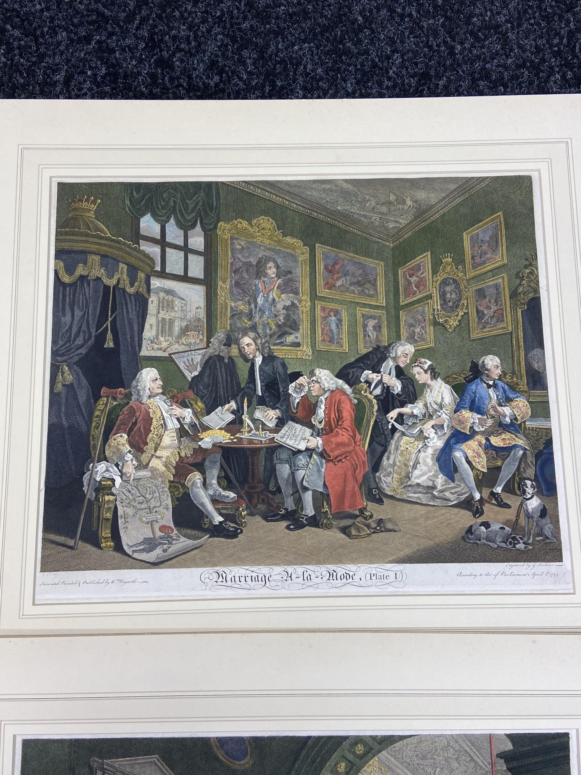 A Set of 6 18th century coloured engravings titled 'Marriage A- LA Mode' Painted, engraved and - Image 2 of 10