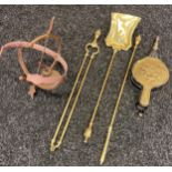 Brass and wood bellows, Brass companion set and cast metal sun dial.