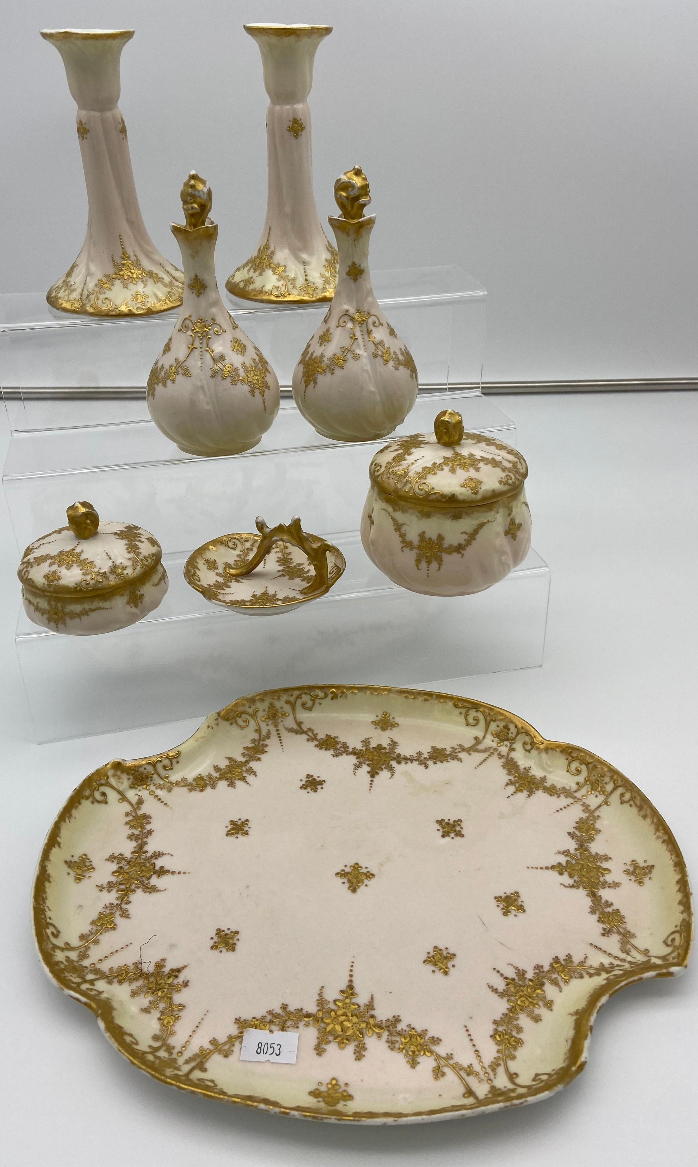 A Vintage French M Redon Limoges porcelain dressing table set.