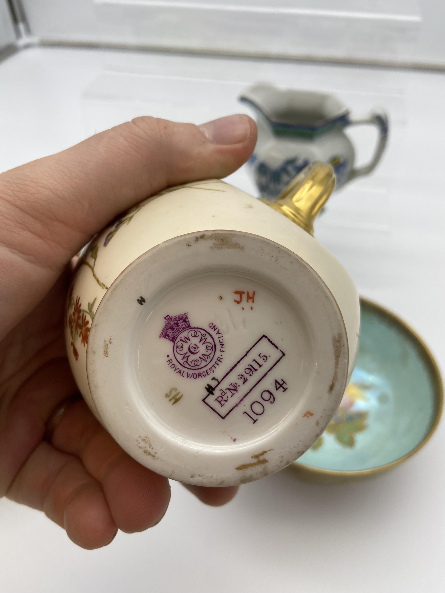 Maling crane design bowl, Wedgwood lustre fruit pattern bowl, Royal Worcester water jug [as found] & - Image 8 of 9
