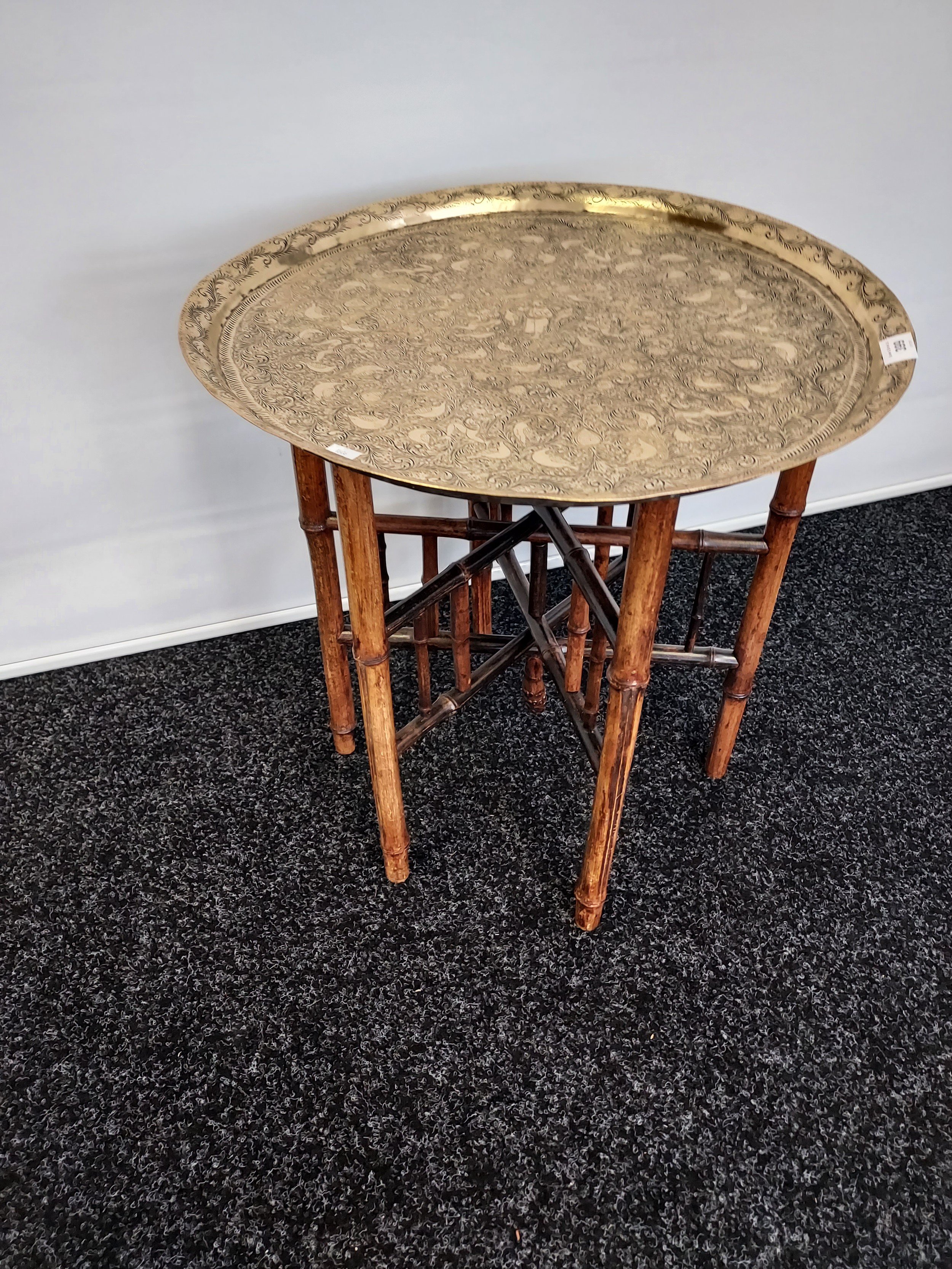 Antique Indian/ Benares decorative brass top wit folding bamboo table legs, Decoratively carved. - Image 2 of 4