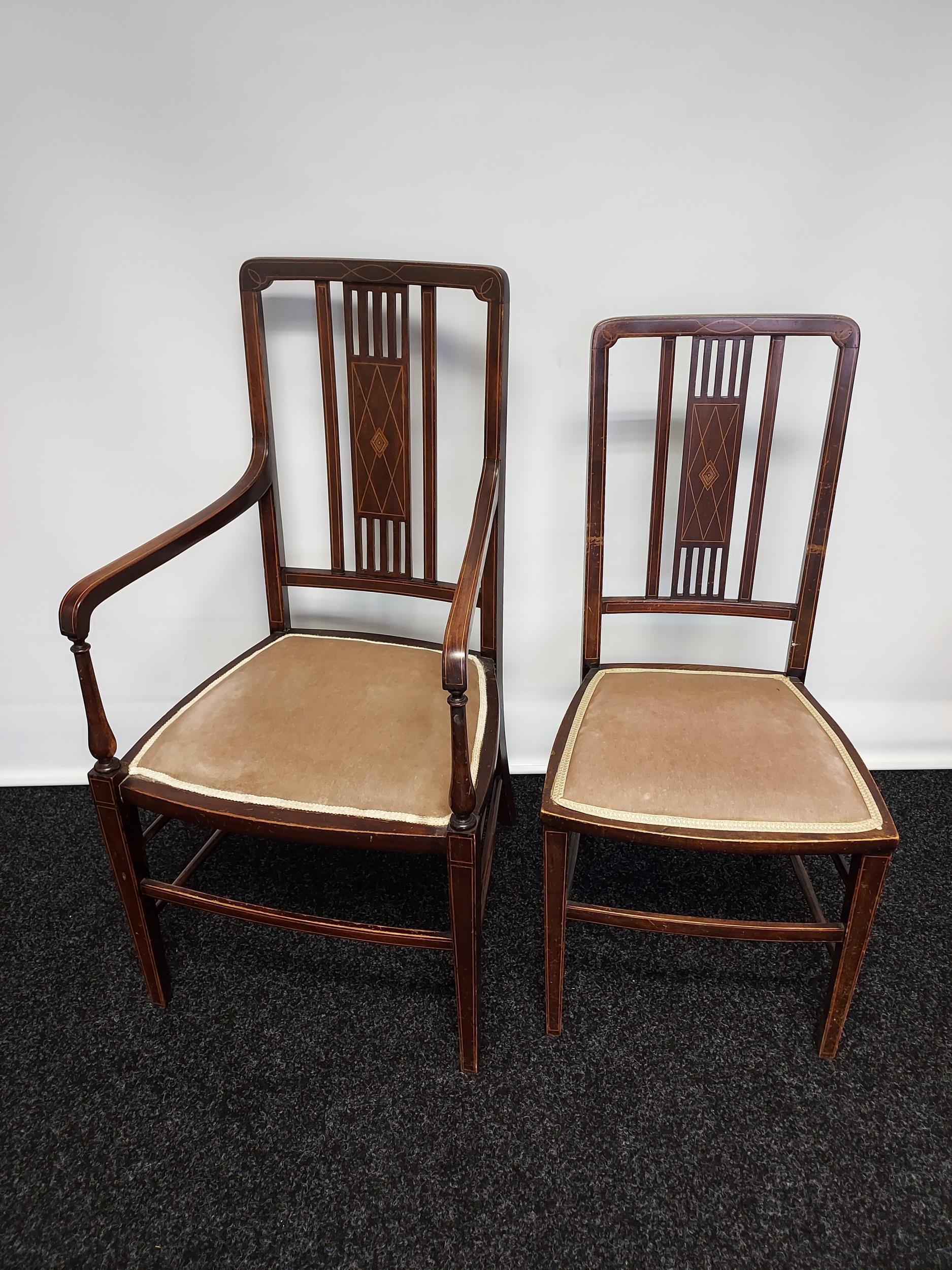 Edwardian inlaid armchair with partner chair