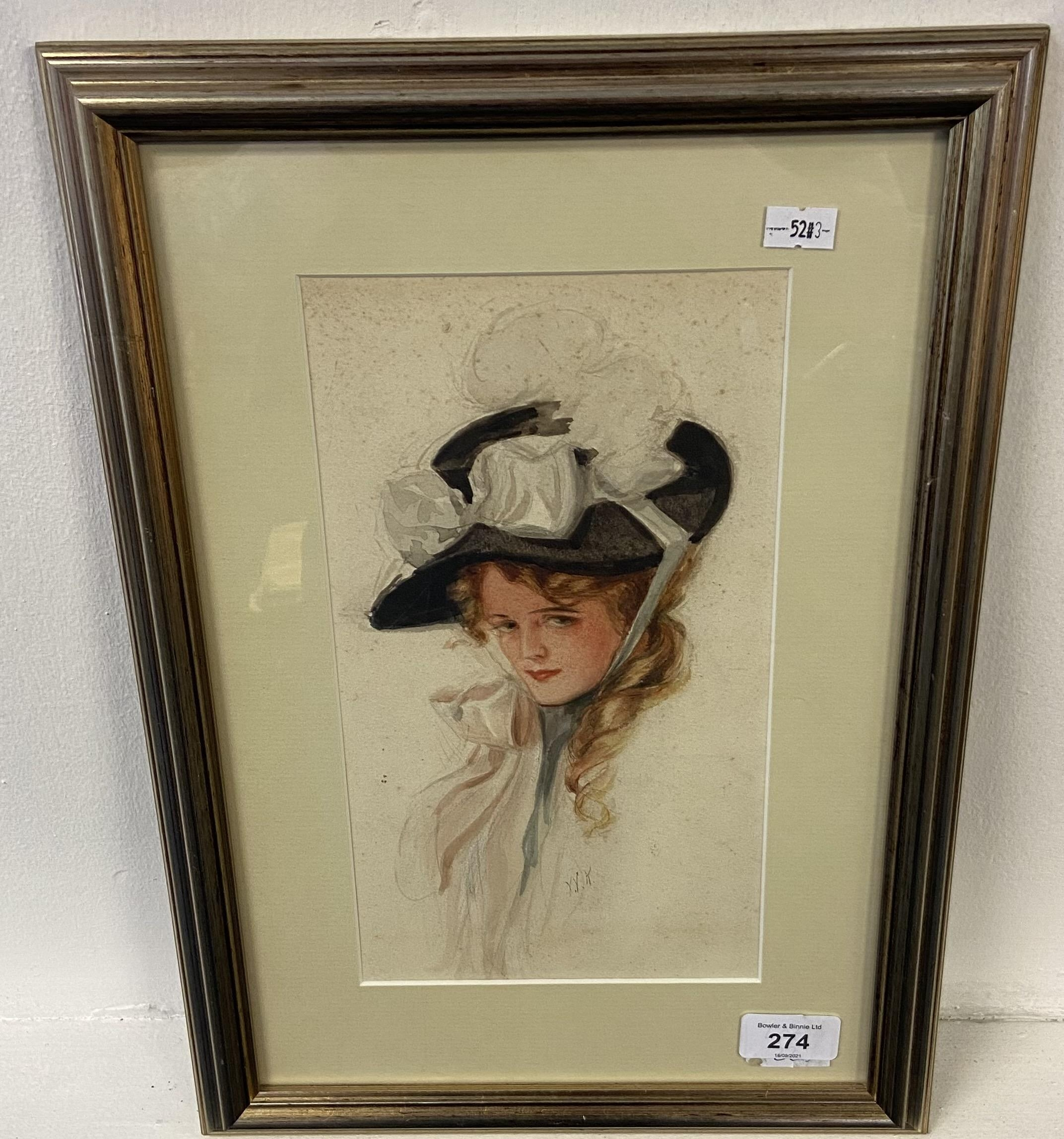 An original watercolour depicting a lady portrait, c1920's and signed W.K.