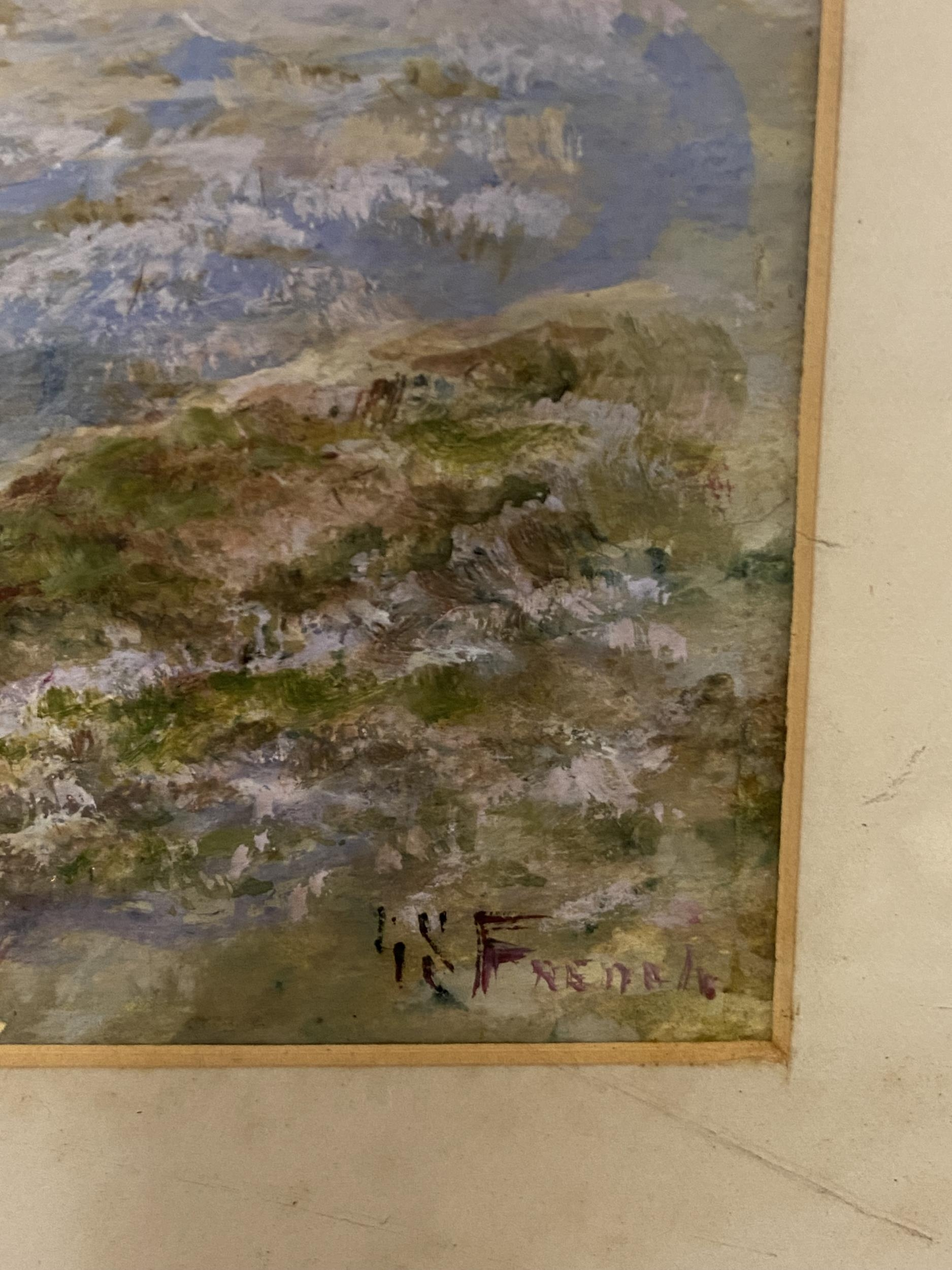 Antique original watercolour depicting sheep in a valley scene. Signed by the artist [Unreadable] [ - Image 2 of 6
