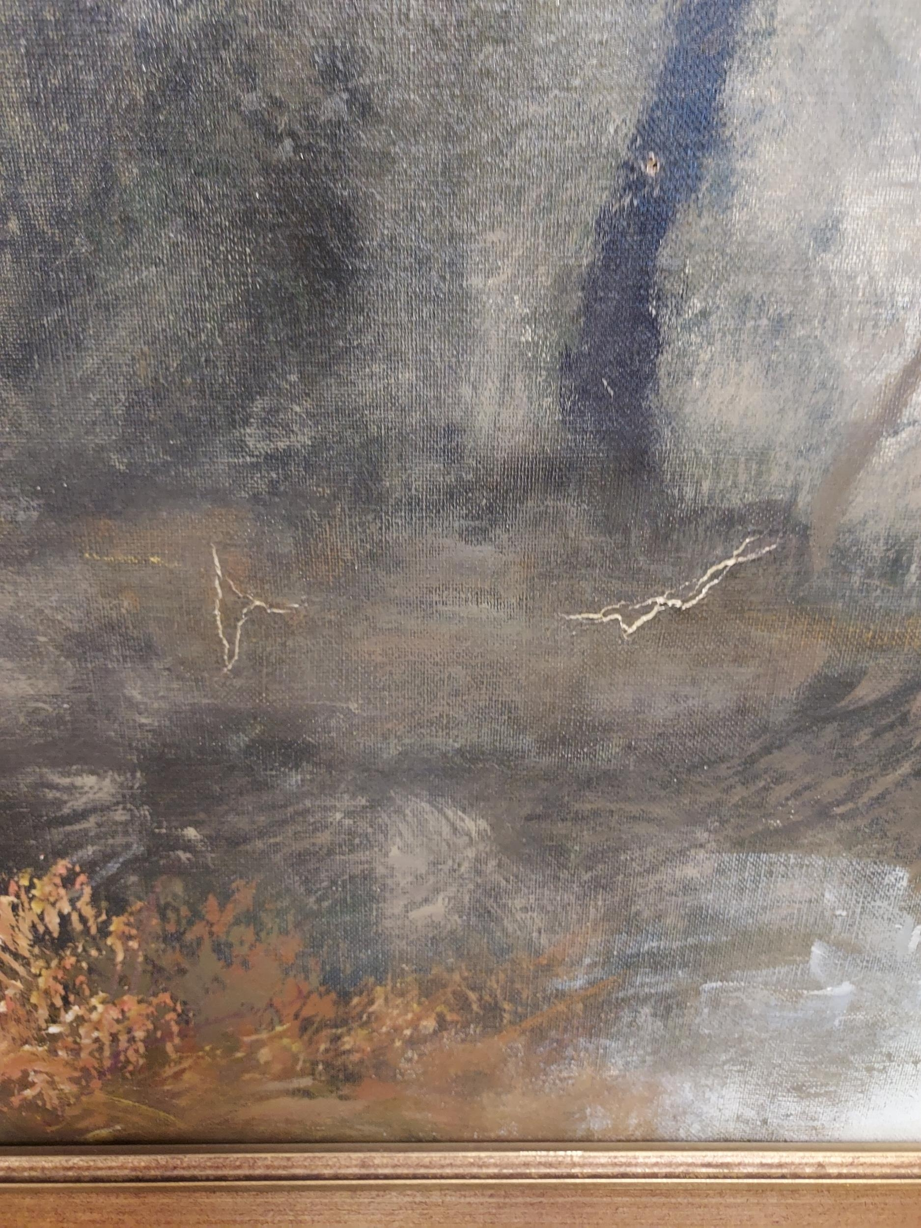 A Large oil painting on canvas depicting various figures fishing and by the fire. Signed A - Image 3 of 4