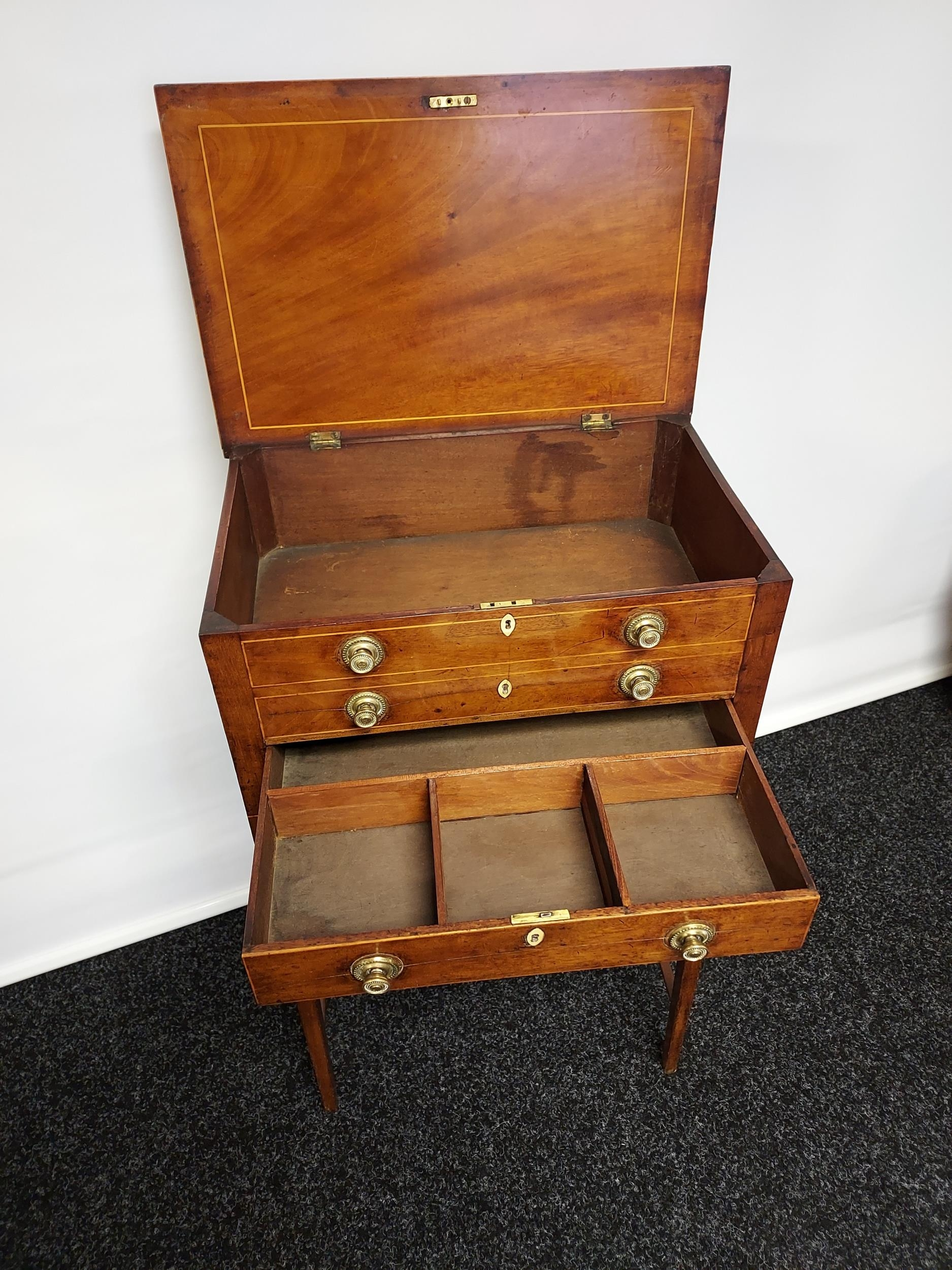 Georgian mahogany lift top console table, one centre drawer under two false drawers, raised on - Image 3 of 7