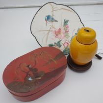 Antique Chinese Yellow glazed lamp base, Hand painted hand held fan and paper mache red lacquered