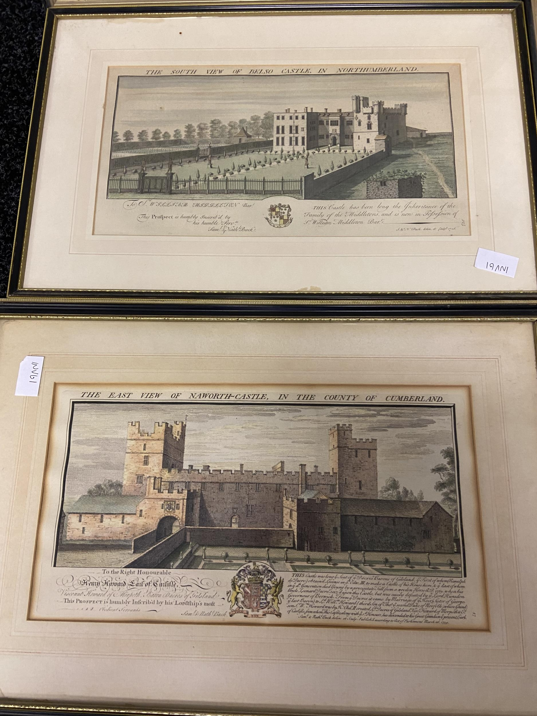 A Collection of 18th century coloured engraving of landmarks of Northumberland, Durham, Norham - Image 6 of 7