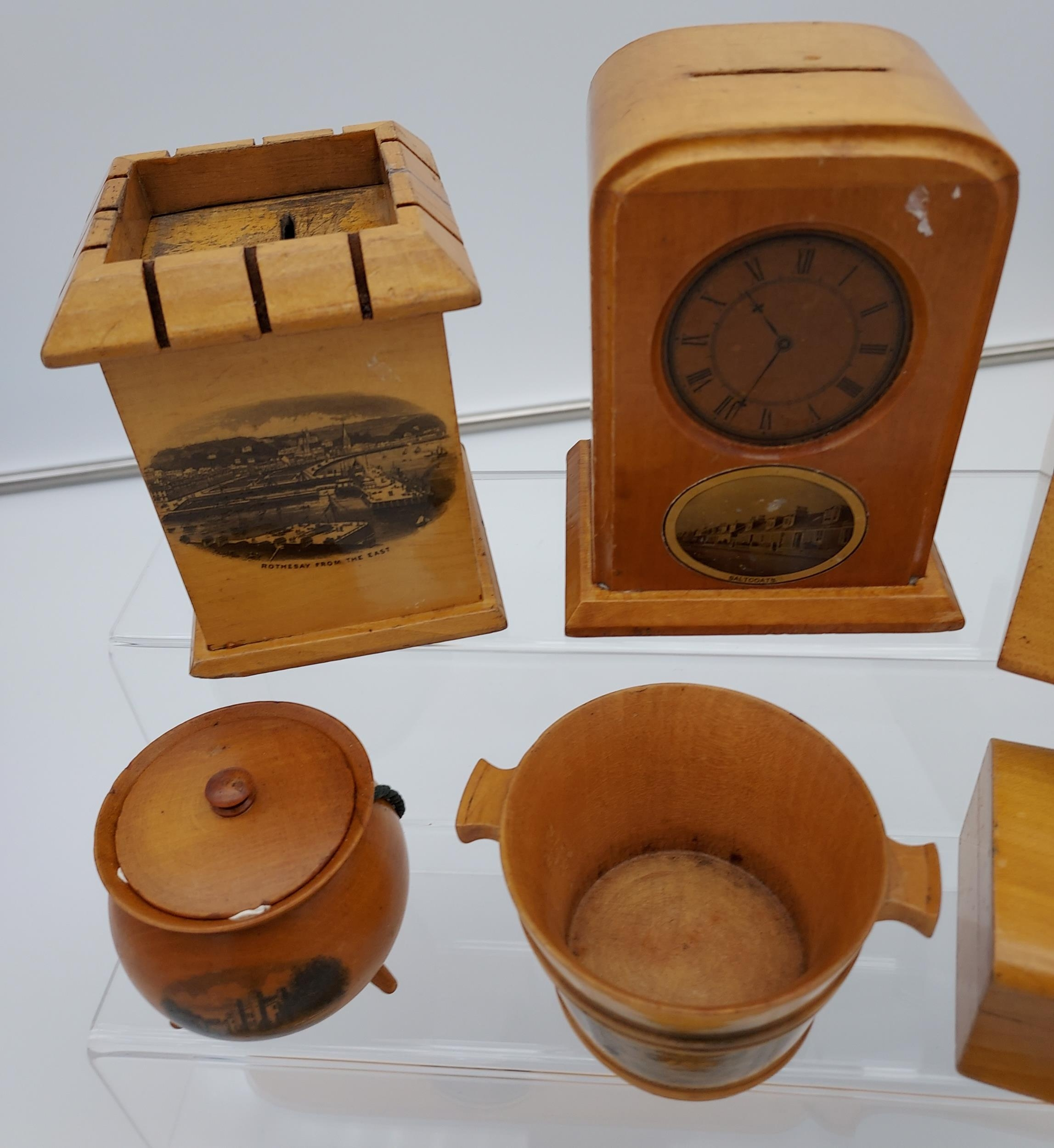 A Collection of 7 various Mauchline ware items to include page turner, Clock shaped bank, Ink - Image 2 of 3