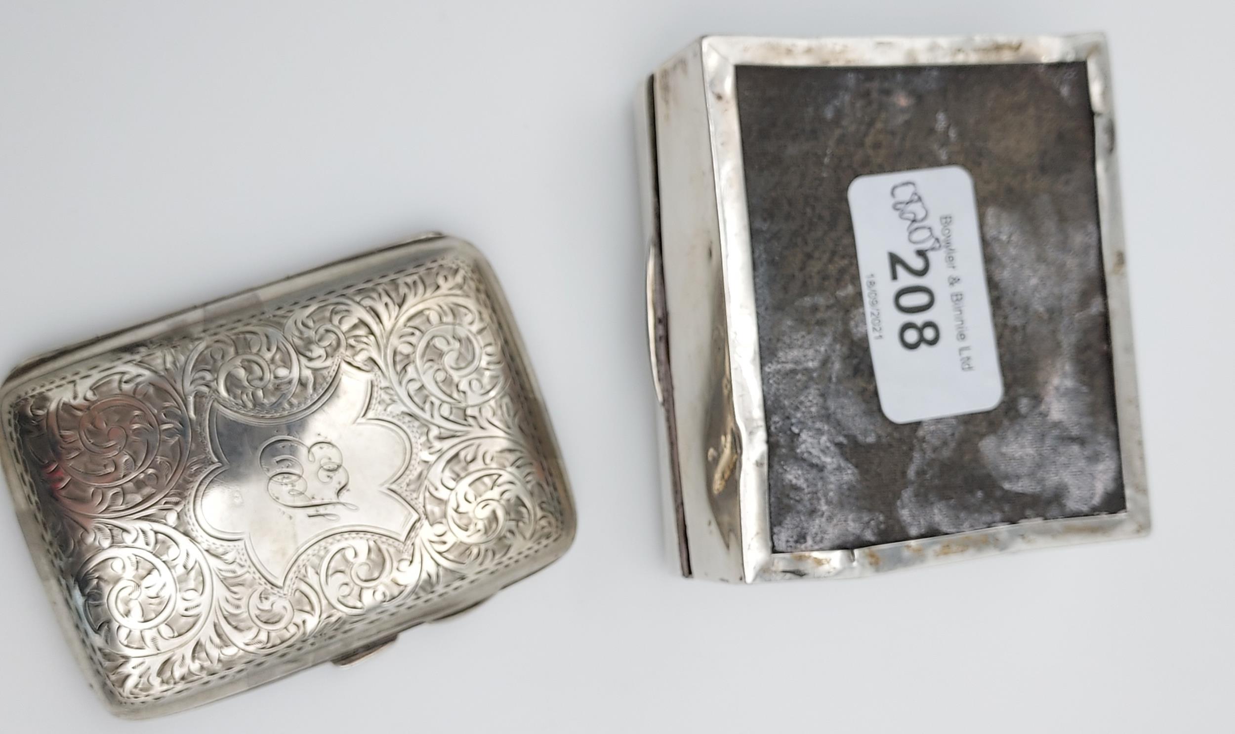 A Birmingham silver cigarette box together with a Birmingham silver cigarette case. - Image 9 of 9