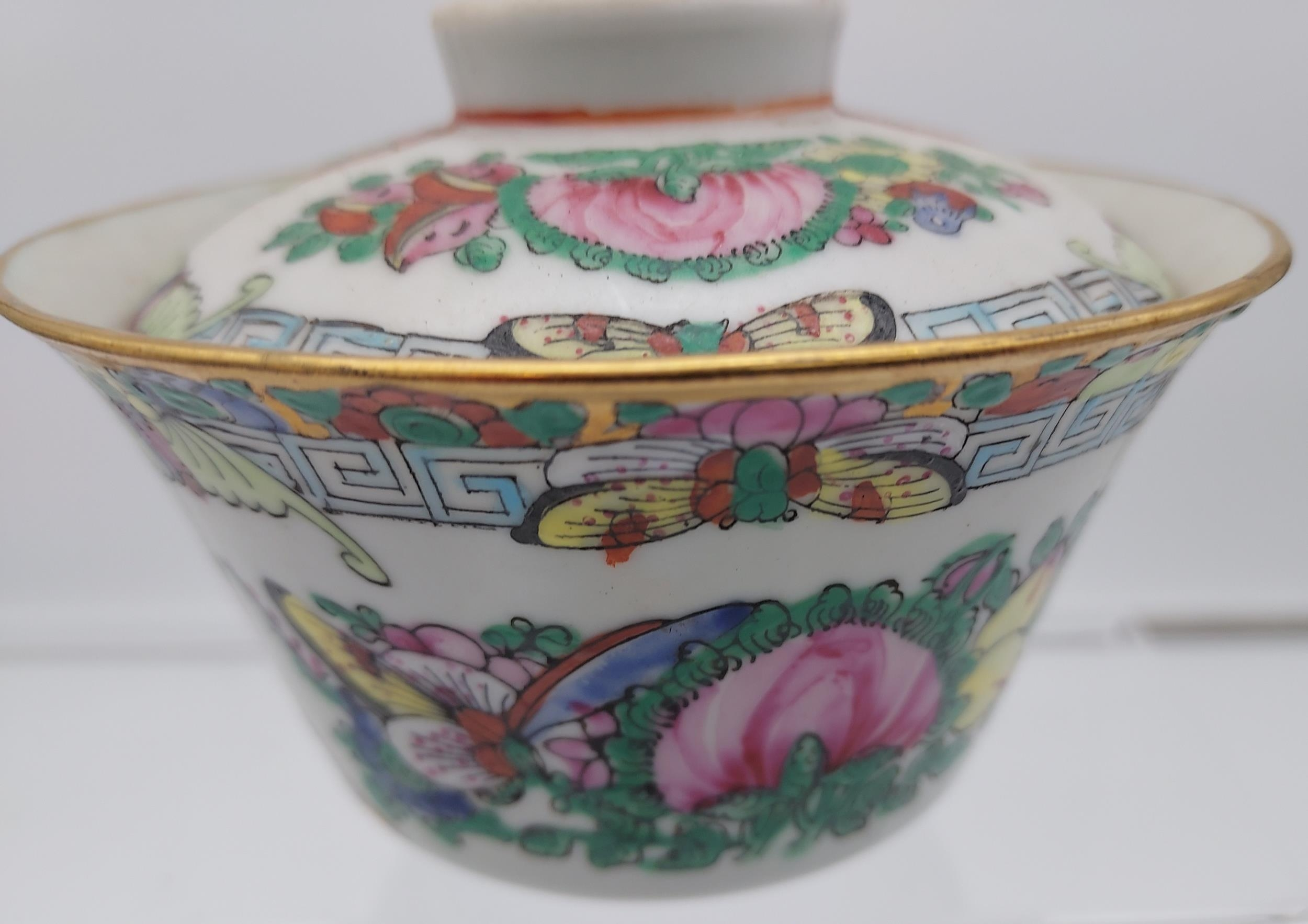 An Antique Chinese Daoguang 1821-50 tea cup, stand and lid. Hand painted with various fishing - Image 11 of 14