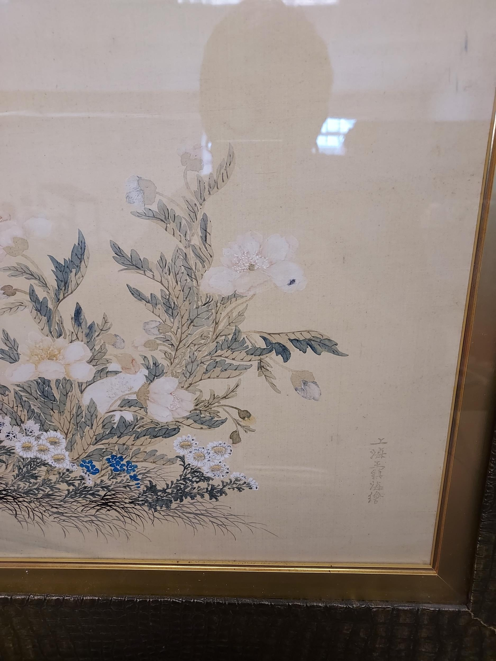 A Large 18th/ 19th century Chinese/ Japanese silk painting depicting cranes surrounded by tree and - Image 3 of 9