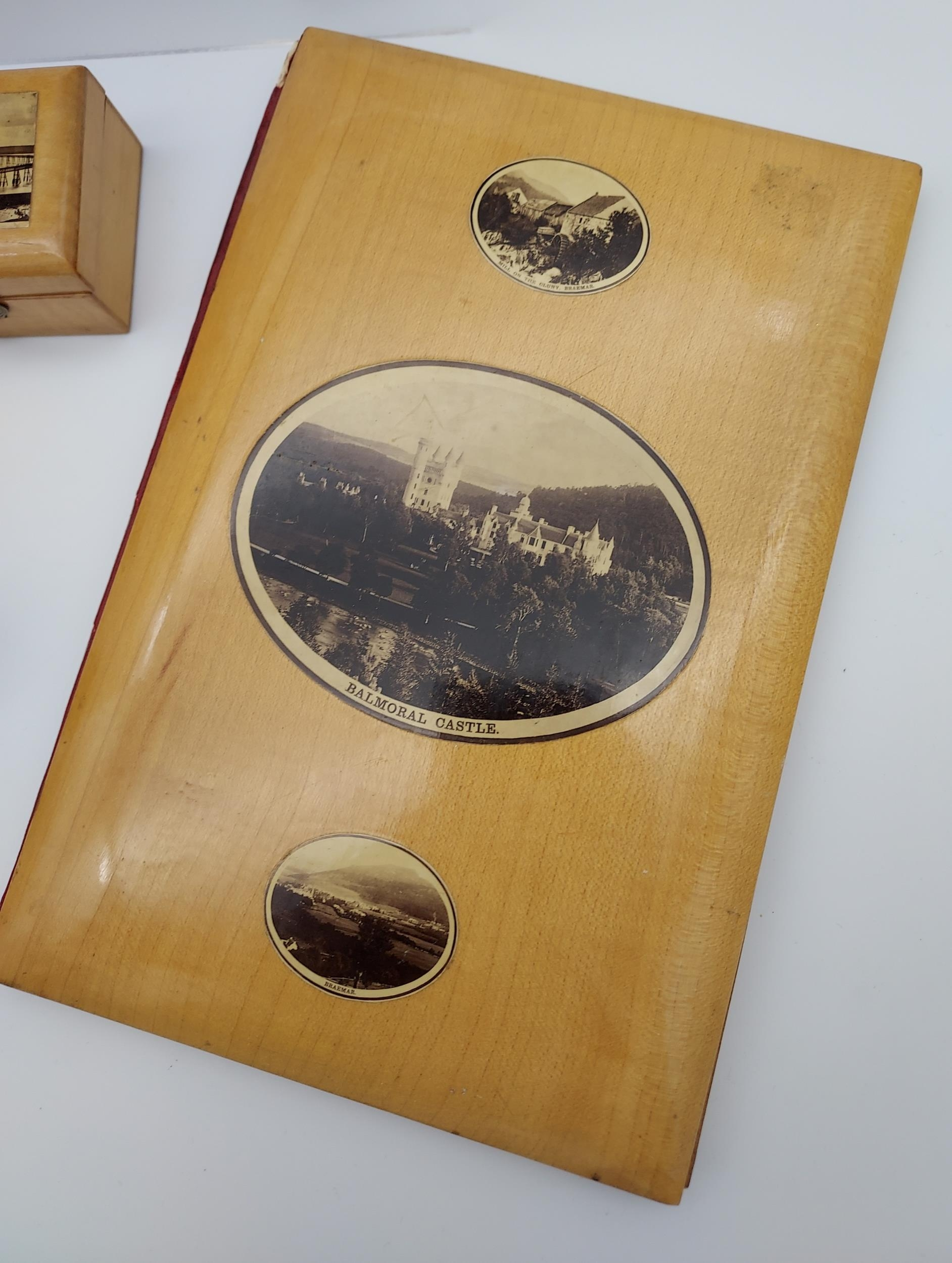 A Collection of 11 various pieces of Mauchline ware which includes Ring box, Blotter, Horse shaped - Image 3 of 6