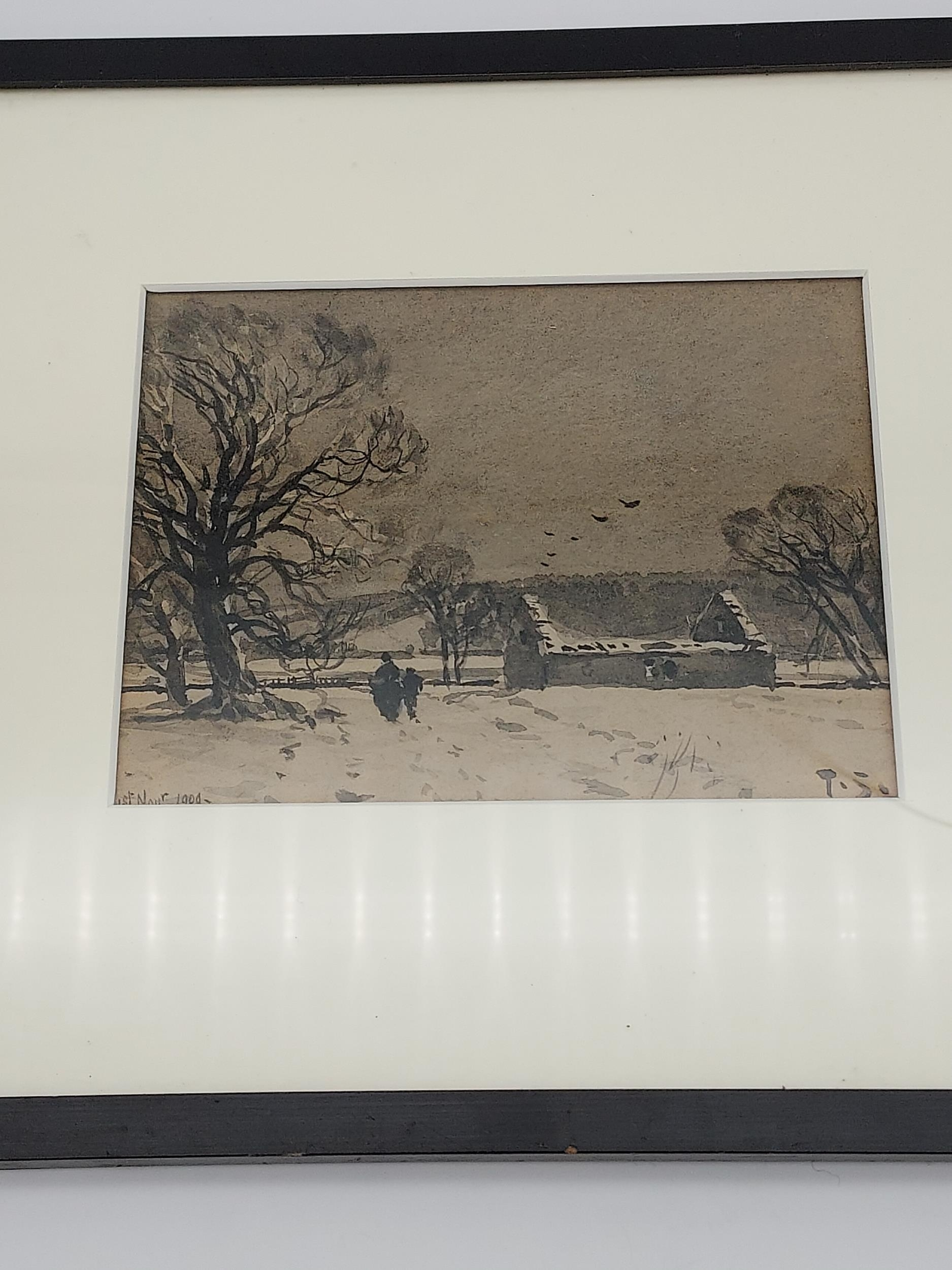 An early 1900's watercolour depicting a winter night scene. Signed T.S. Dated 1909. - Image 2 of 2