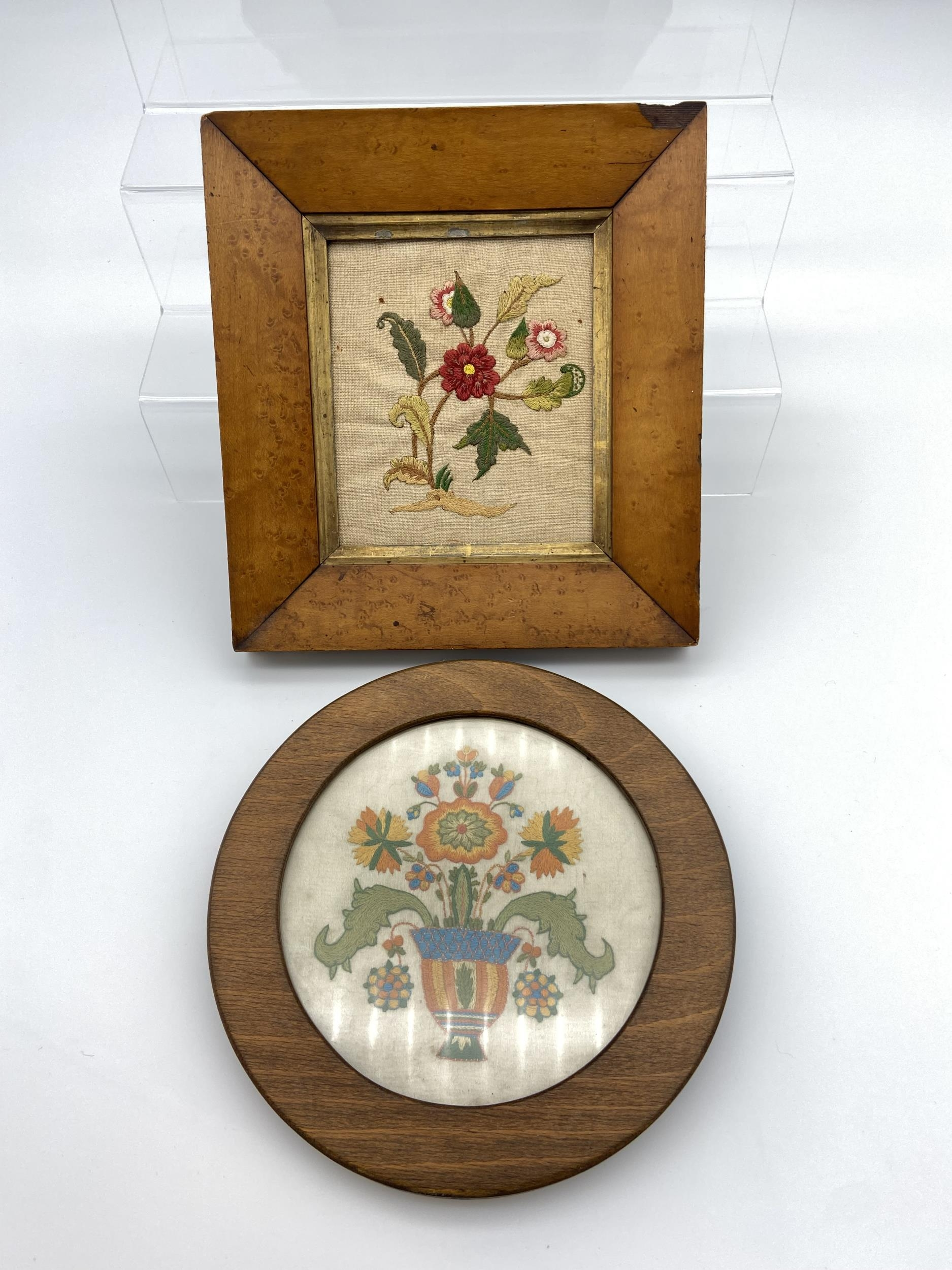 Two vintage framed tapestry with wooden frames. Includes bird eye maple frame- 23x21cm]