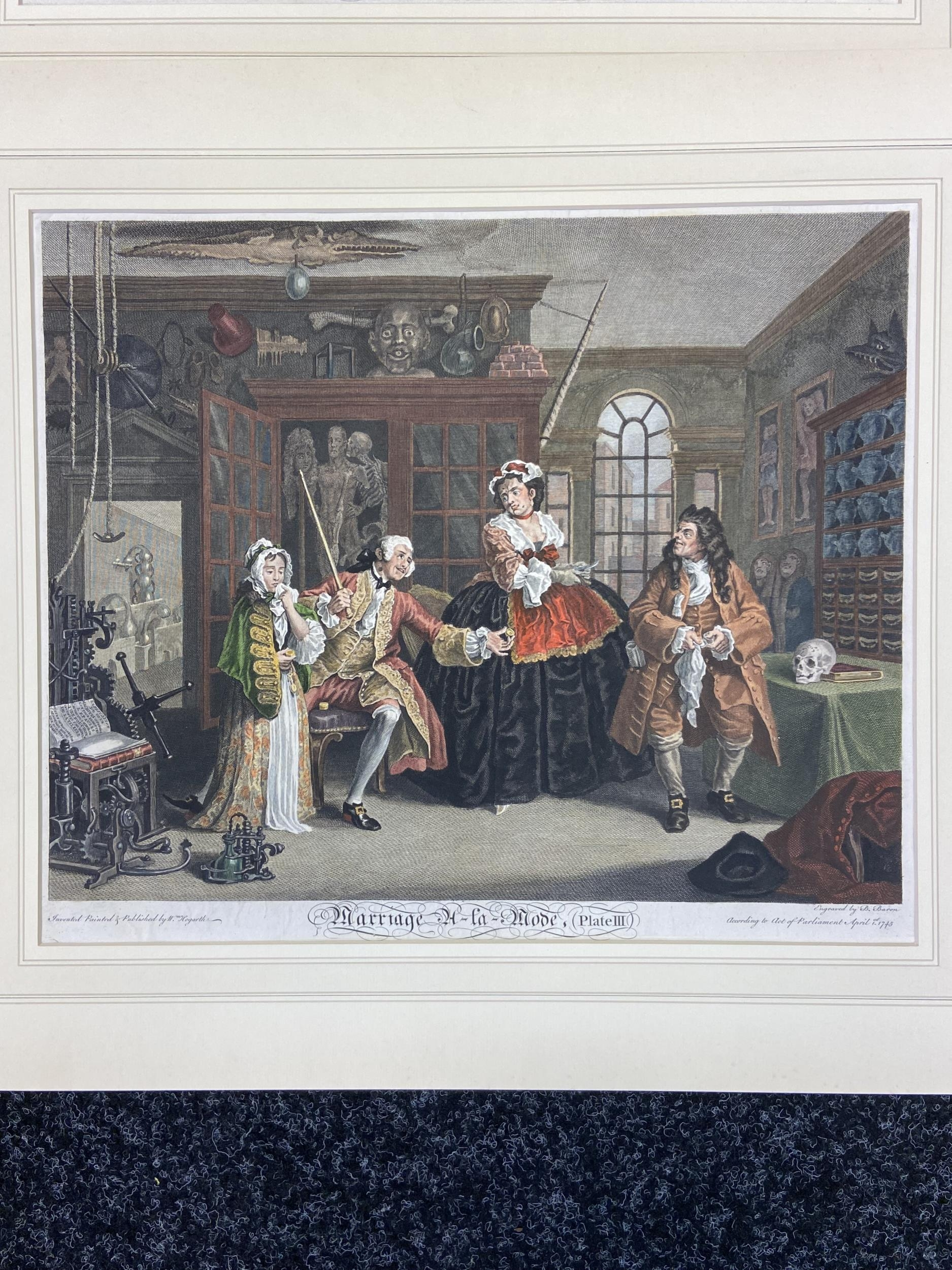 A Set of 6 18th century coloured engravings titled 'Marriage A- LA Mode' Painted, engraved and - Image 4 of 10