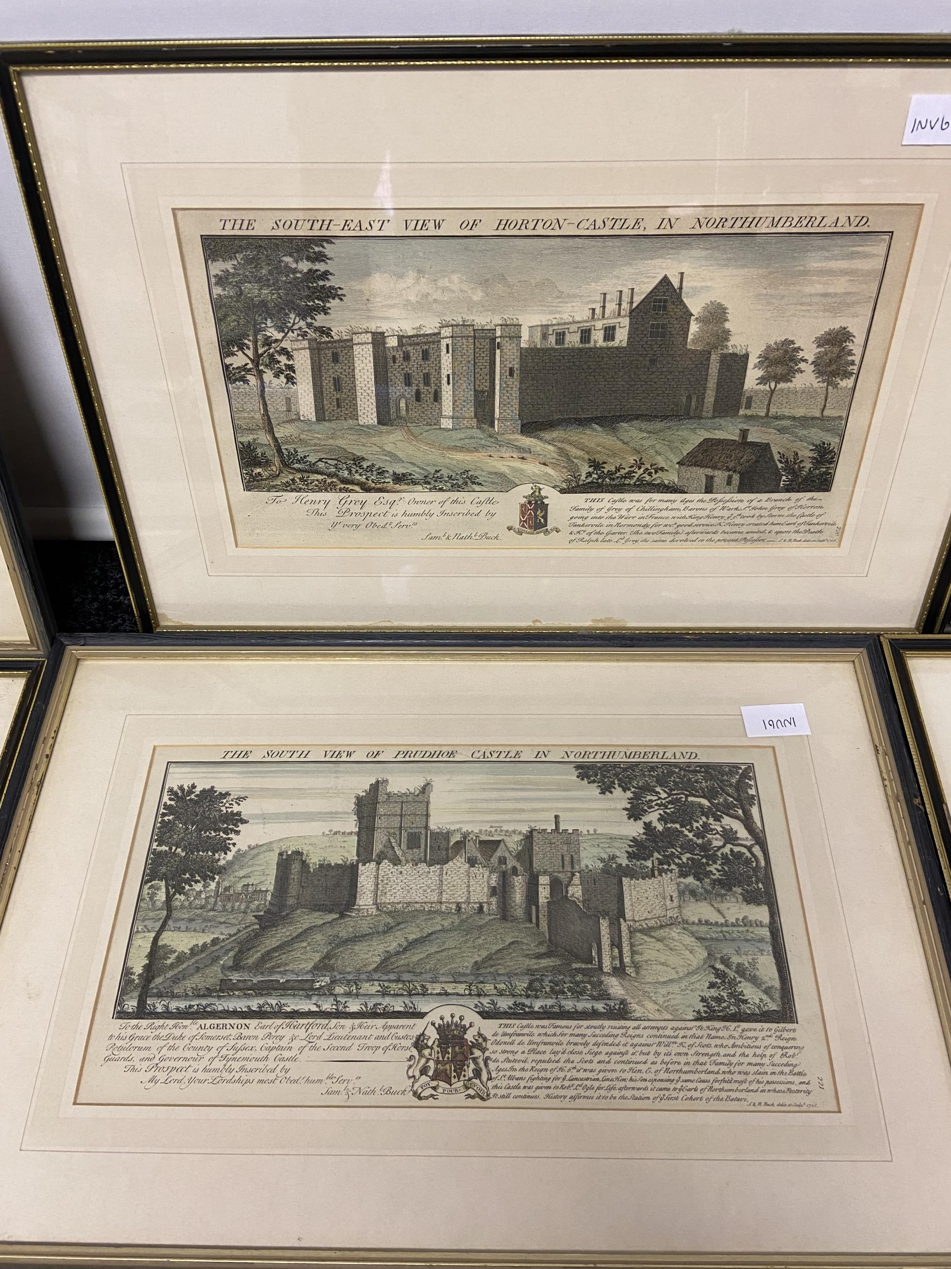 A Collection of 18th century coloured engraving of landmarks of Northumberland, Durham, Norham - Image 4 of 7