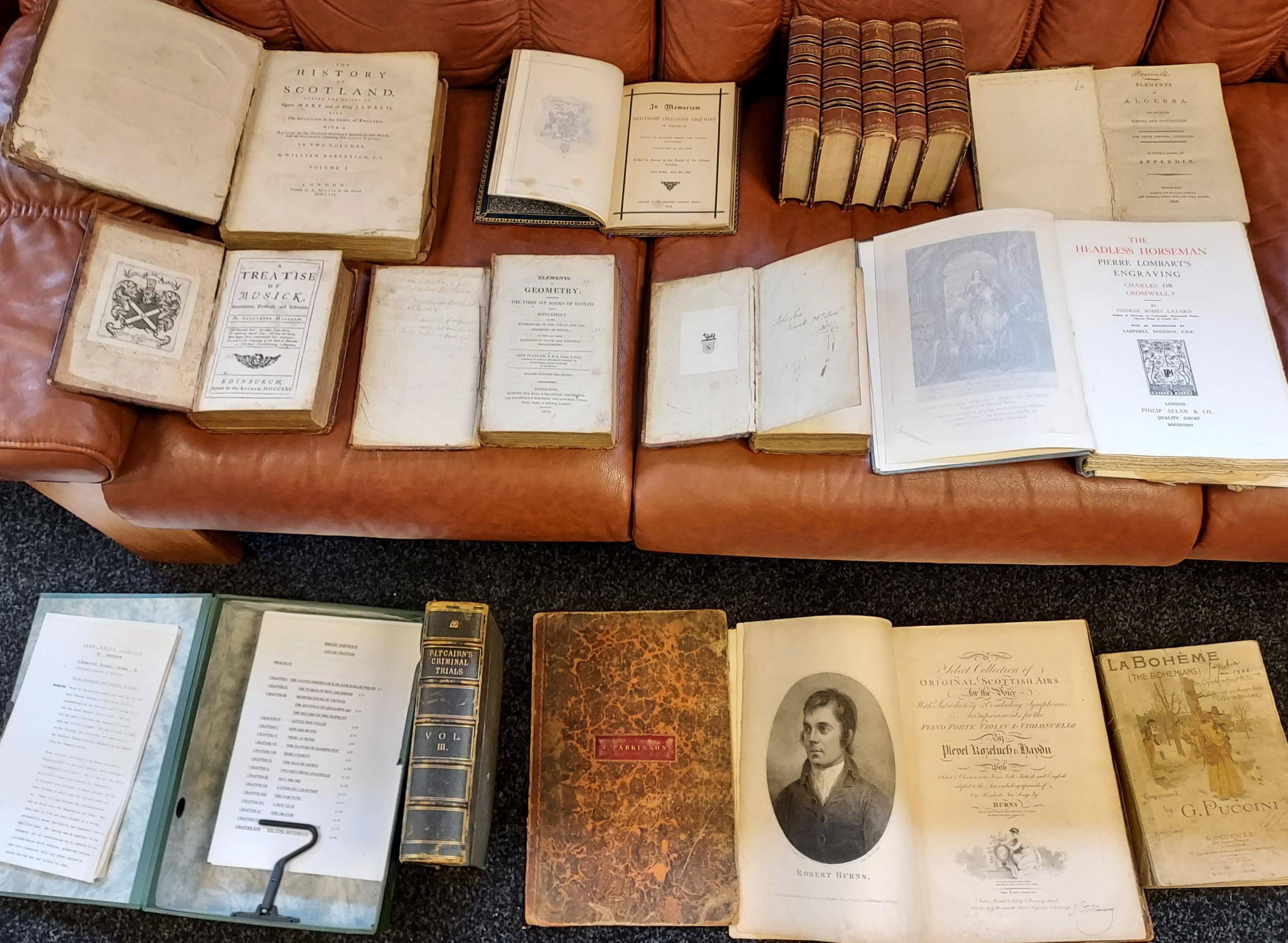 A collection of 18th/19th century books to include; 'The Headless Horseman' by George Somes