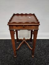 Georgian drinks table, wave edging to the surround above a pull-out section to the middle