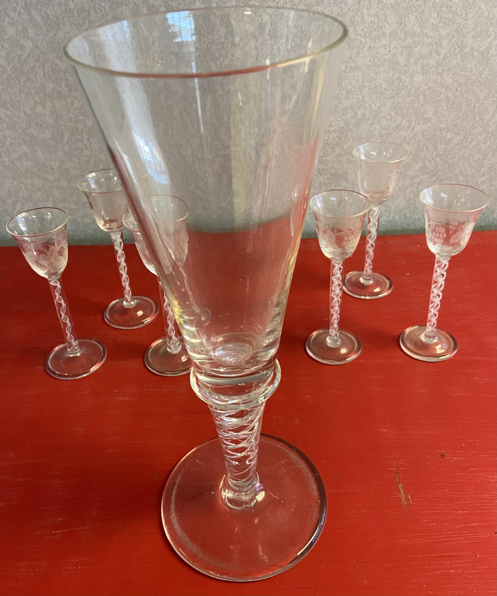 A Set of 6 twist stem free blown sherry glasses, etched with grape vines, Together with a large - Image 4 of 5