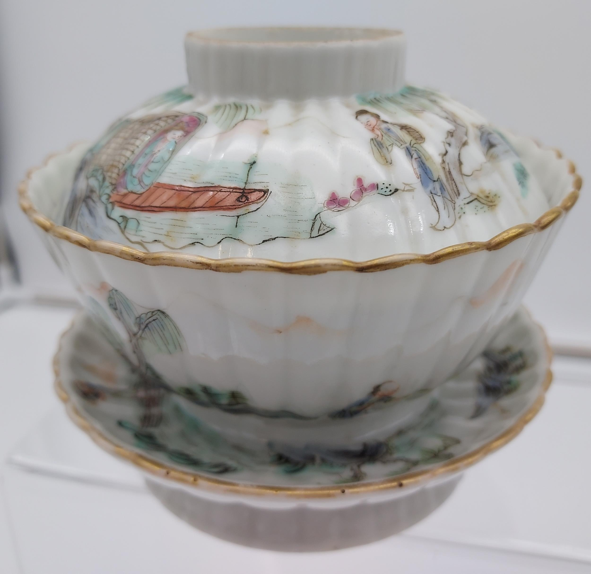 An Antique Chinese Daoguang 1821-50 tea cup, stand and lid. Hand painted with various fishing - Image 14 of 14