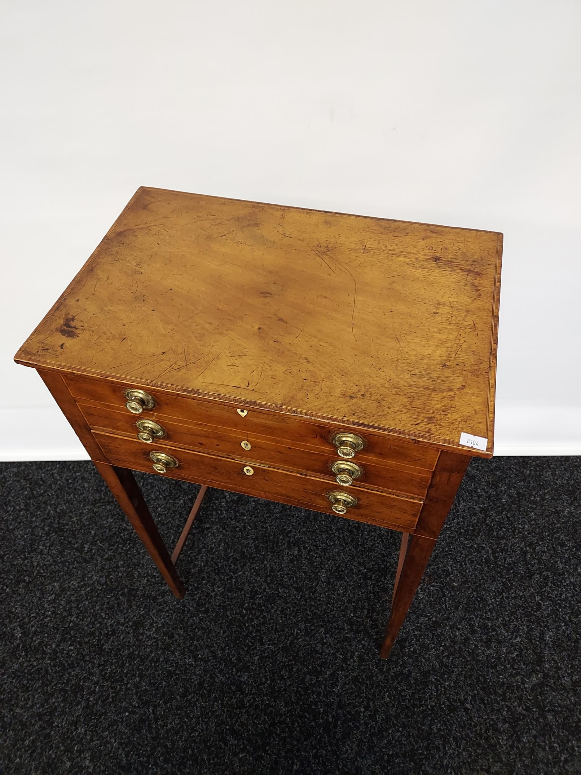 Georgian mahogany lift top console table, one centre drawer under two false drawers, raised on - Image 2 of 7
