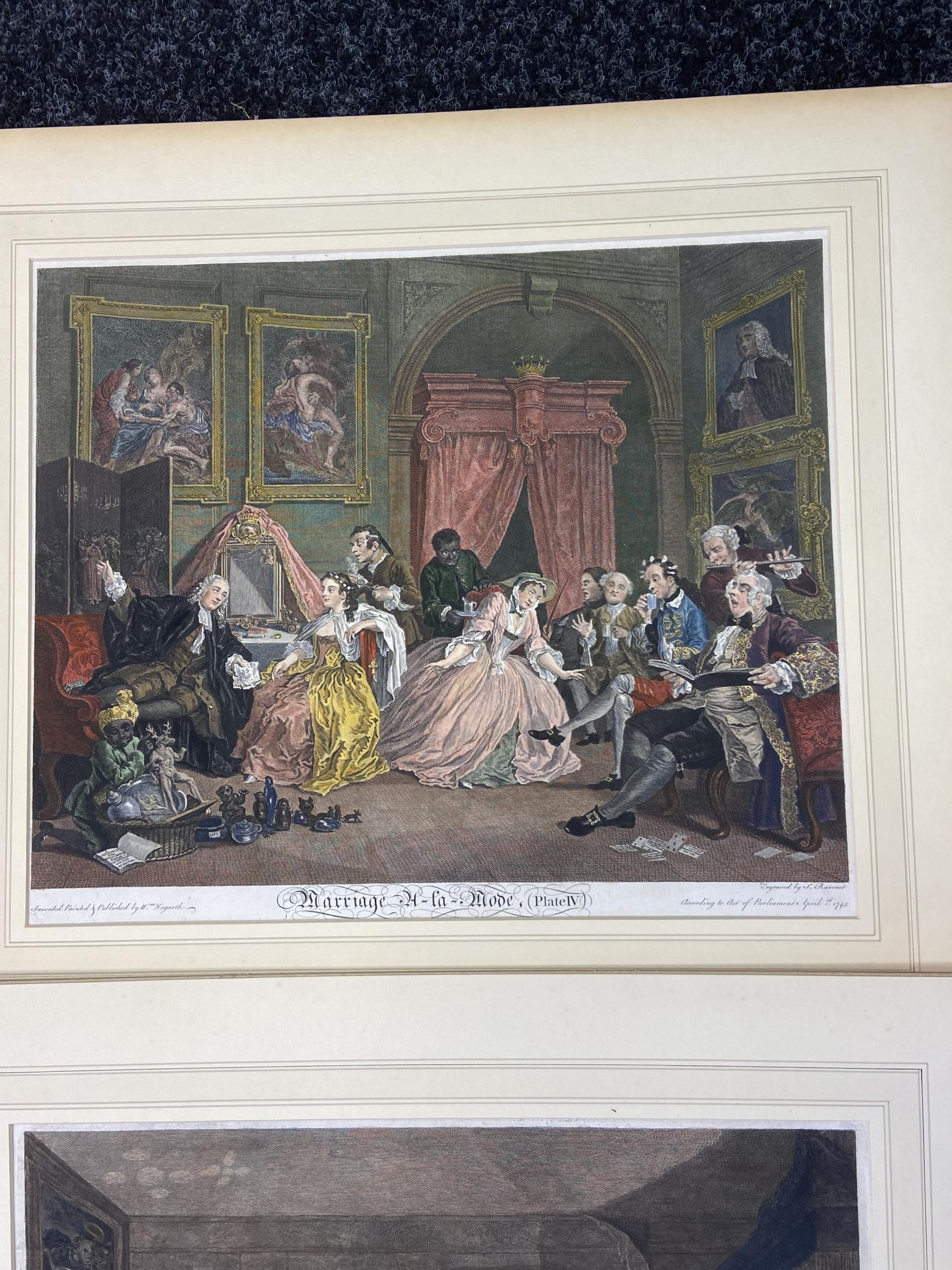 A Set of 6 18th century coloured engravings titled 'Marriage A- LA Mode' Painted, engraved and - Image 5 of 10
