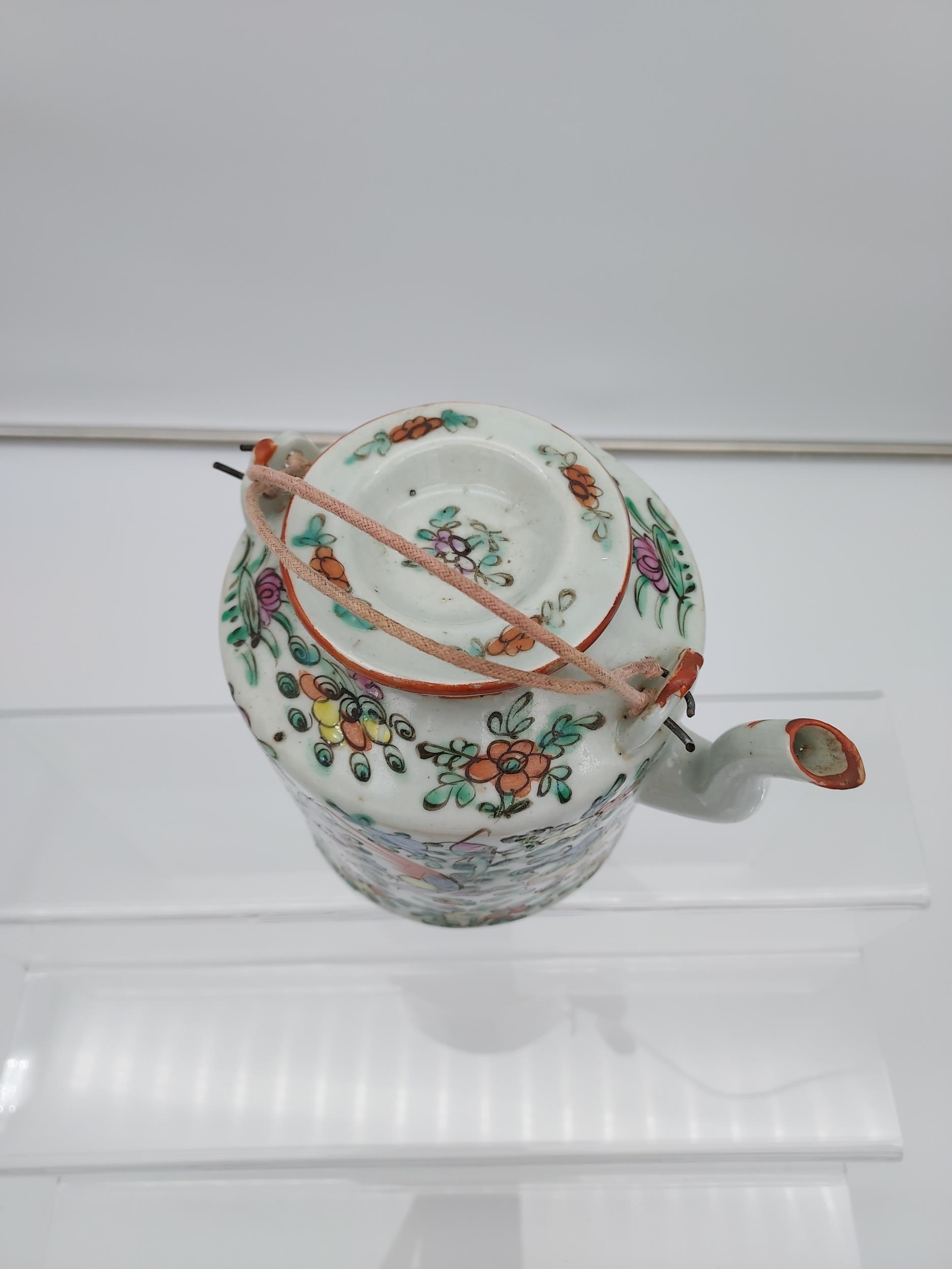 An Antique Chinese Canton pale green glazed and hand painted tea pot/ saki pot. With wire handle. [ - Image 4 of 10