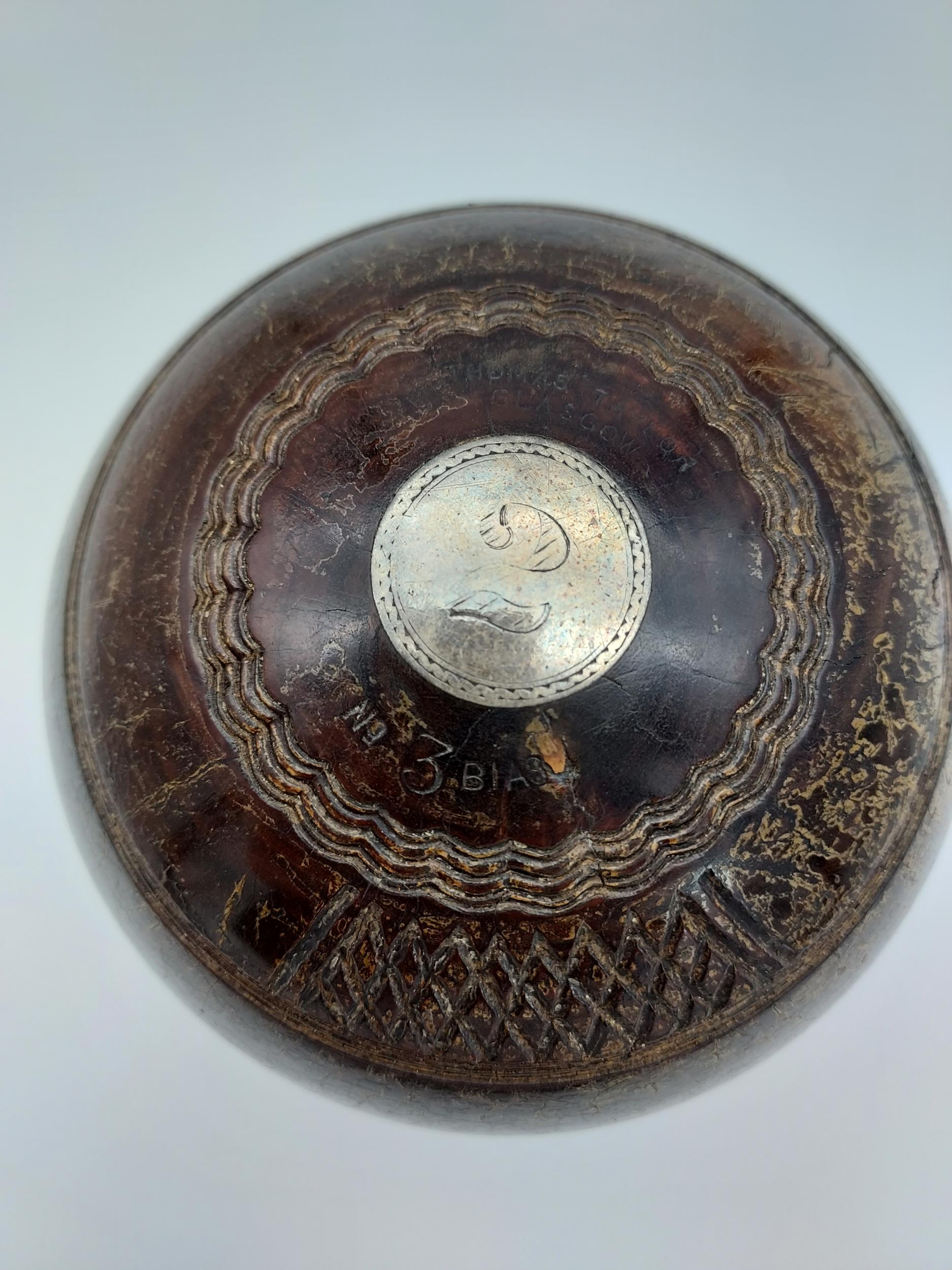 Antique Thomas Taylor Glasgow wooden presentation bowl with silver mounts. - Image 6 of 8