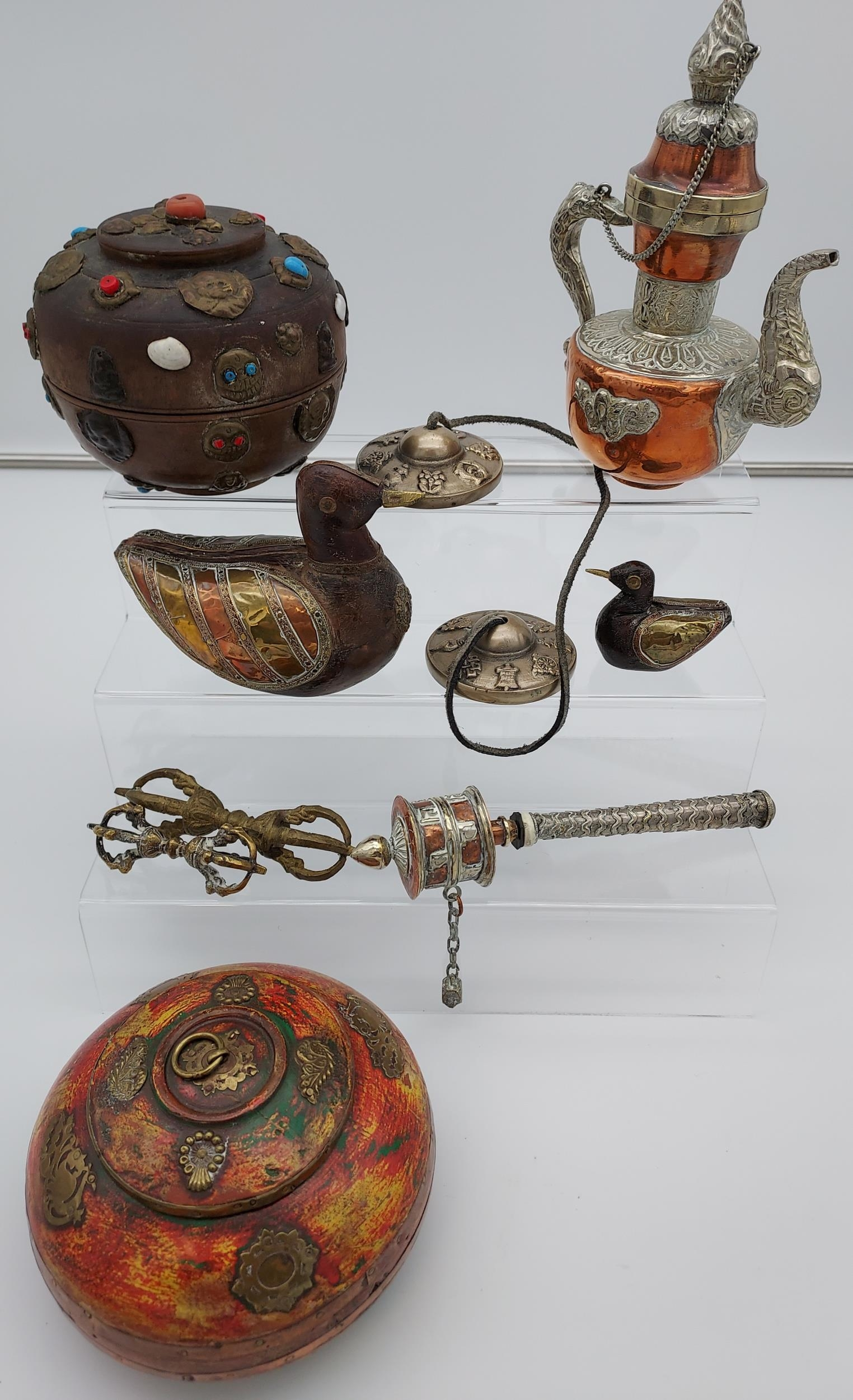 A collection of Tibetan antiques to include silver and copper teapot, prayer wheel, meditation chime - Image 6 of 6
