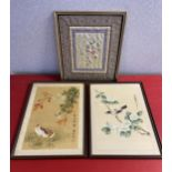A Lot of three Chinese/ Japanese paintings on silk and tapestry.