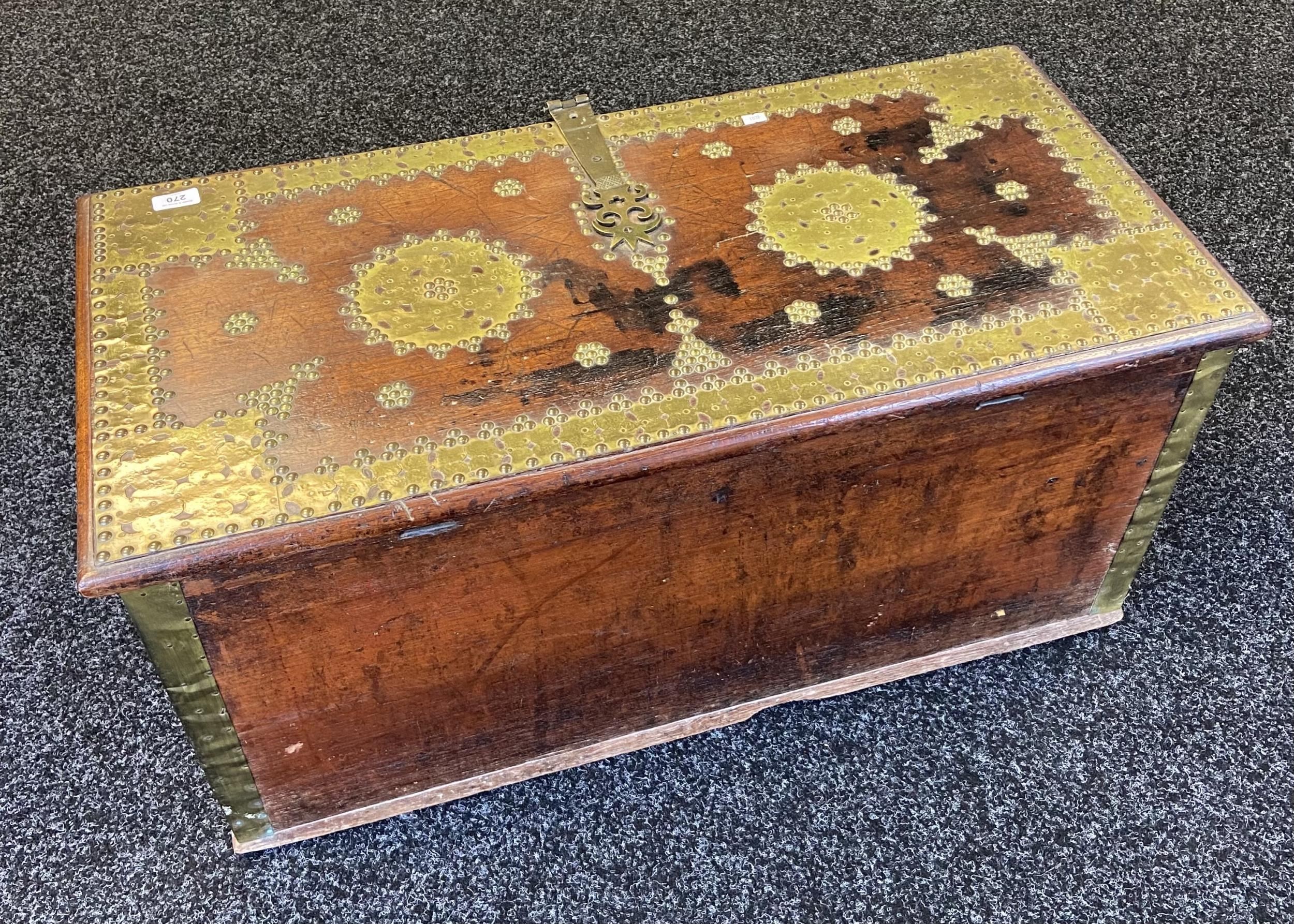 An 18th/ 19th century Arabic travel chest, Designed with brass mounts and heavy brass lock and - Image 2 of 6