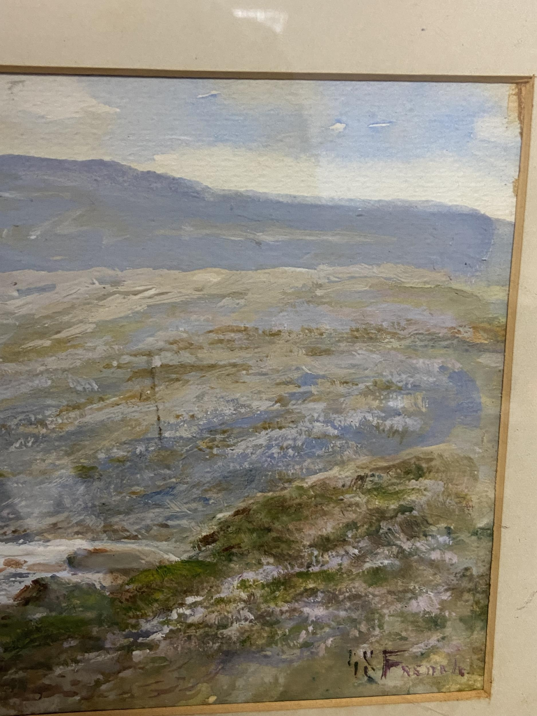 Antique original watercolour depicting sheep in a valley scene. Signed by the artist [Unreadable] [ - Image 5 of 6